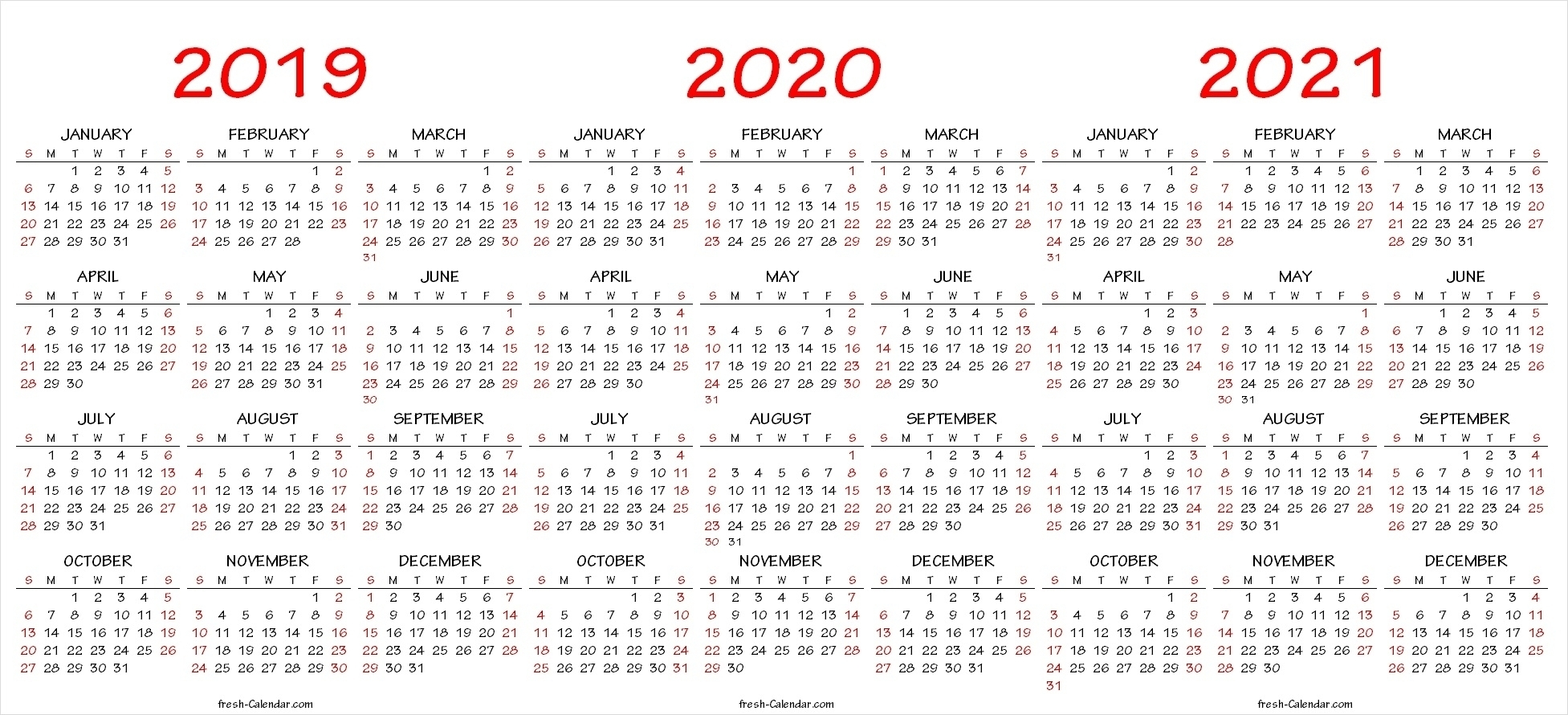 Dandy 3 Year Printable Calendar 2019 To 2021 : Mini Calendar intended for Free Printable Calendar For 2019 2020 2021