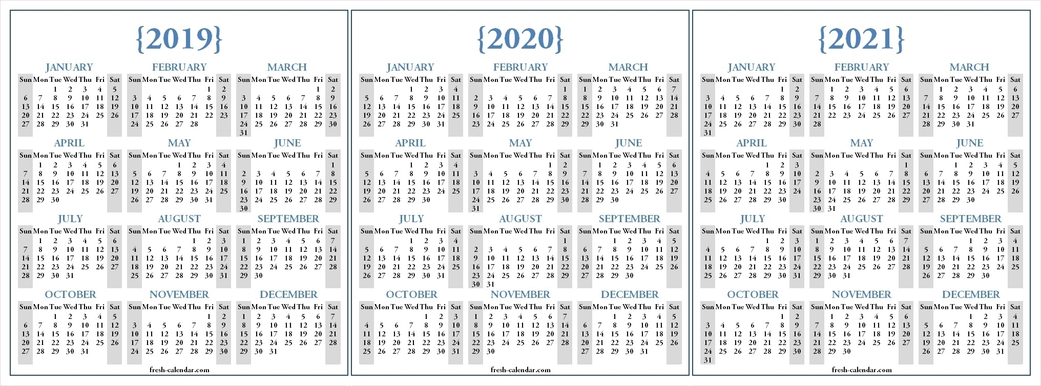 Dandy 3 Year Printable Calendar 2019 To 2021 : Mini Calendar pertaining to 2020 Year Calendar Printable Free Bangla