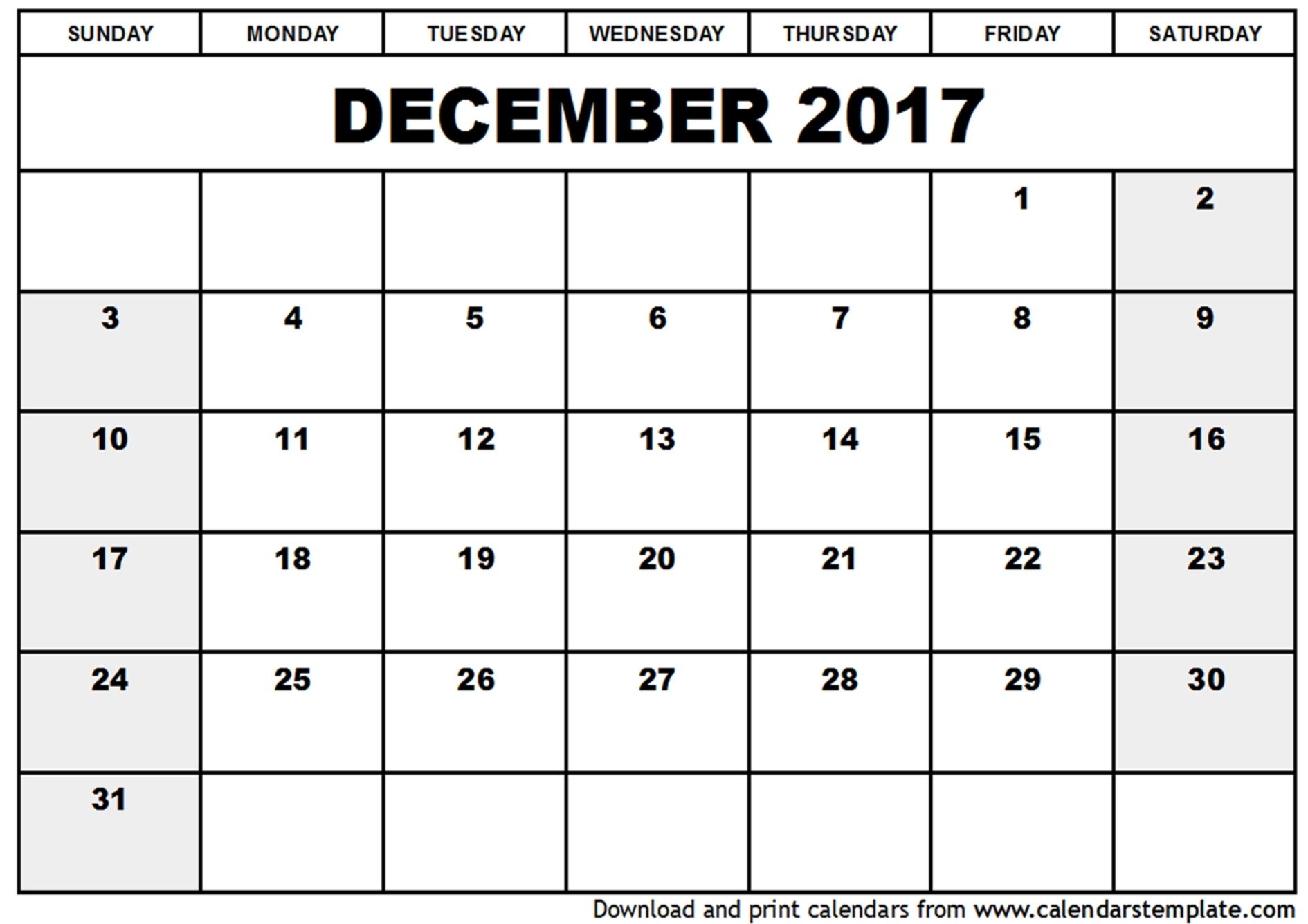 December 2017 Template Calendar – Template World with Nov Dec 2017 Calendar Printable
