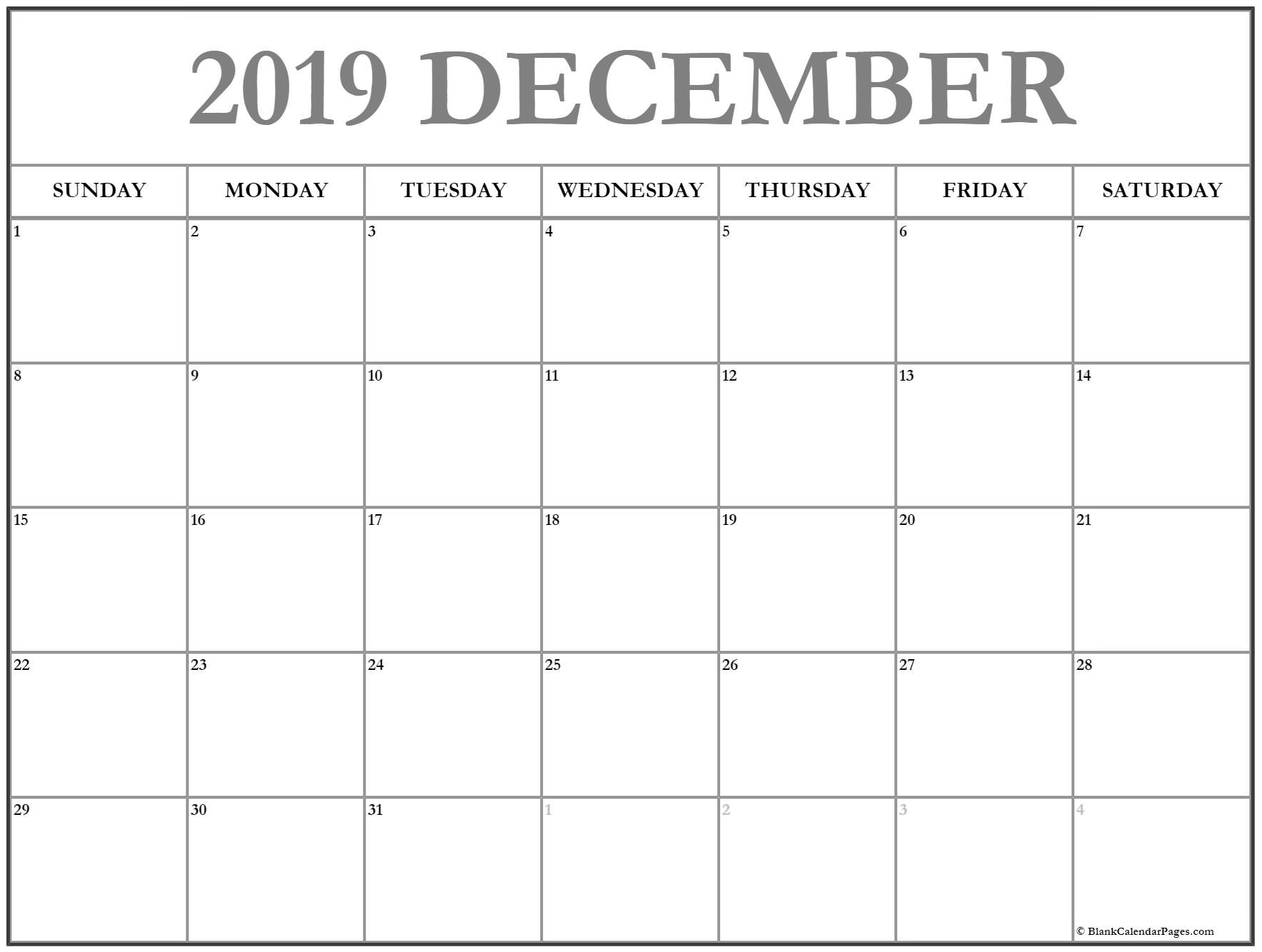 December 2019 Calendar | Free Printable Monthly Calendars for Calendars To Print Free With Space To Write