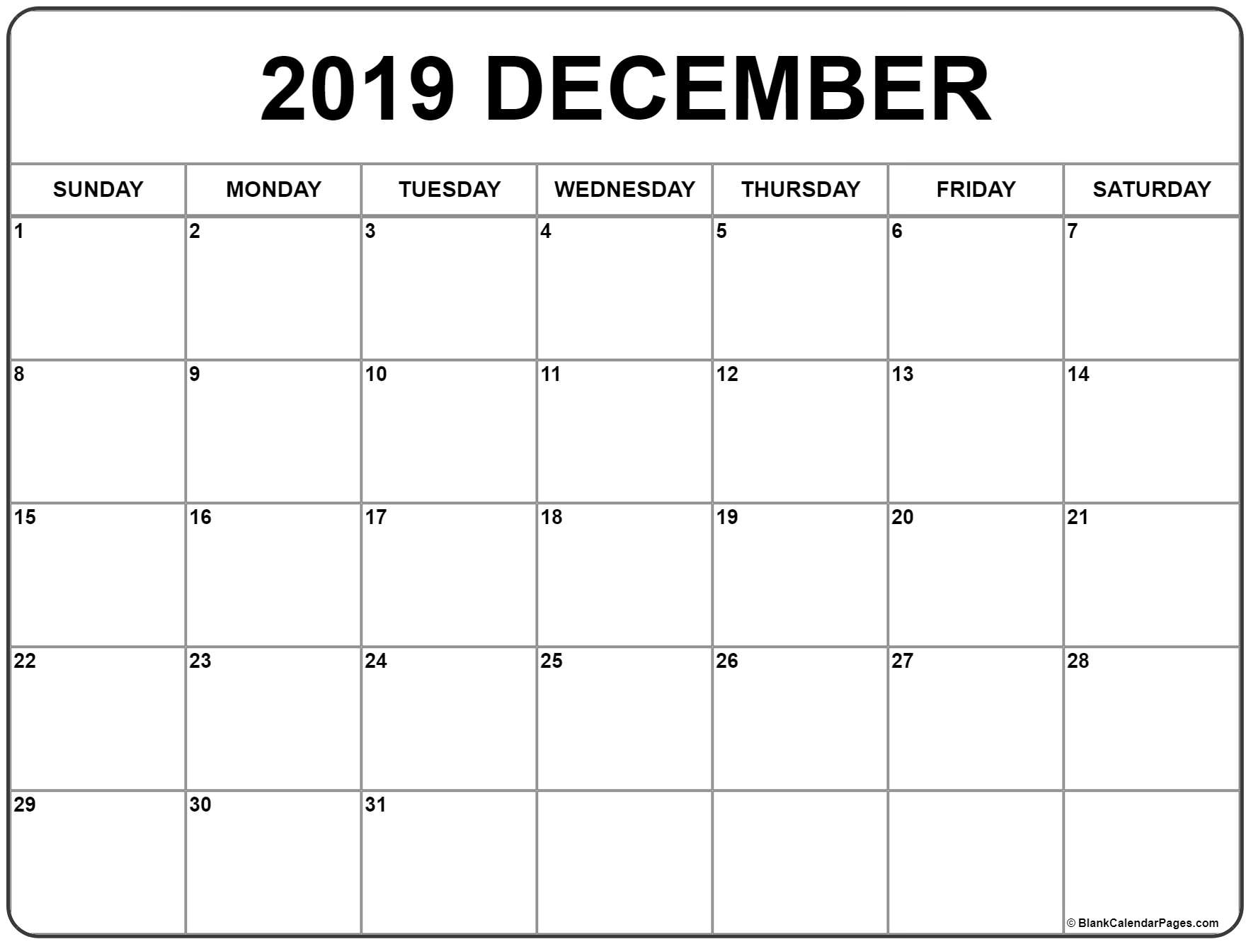 December 2019 Calendar | Free Printable Monthly Calendars with regard to Calendars To Print Free With Space To Write