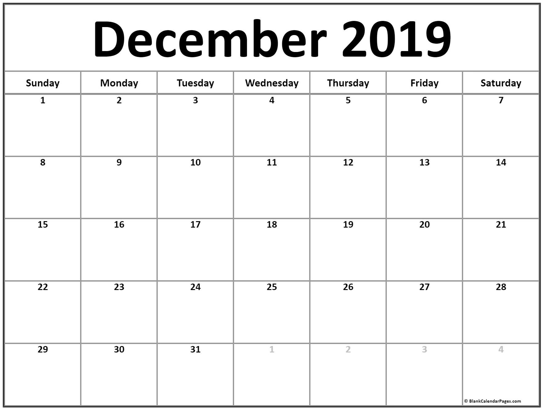 December 2019 Calendar | Free Printable Monthly Calendars within Printable Calendar With Space To Write