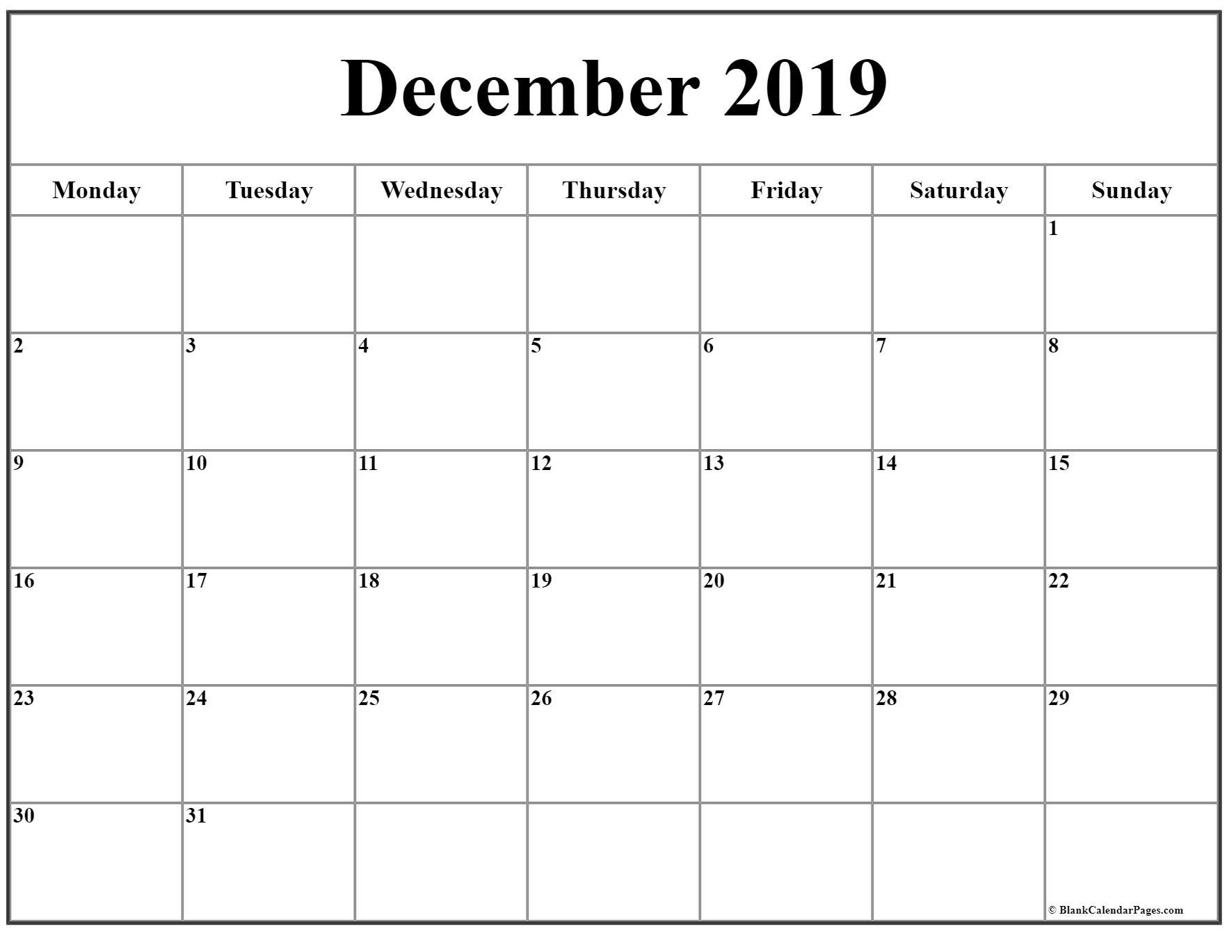 December 2019 Monday Calendar | Monday To Sunday inside Calendar 2019 Monday To Sunday