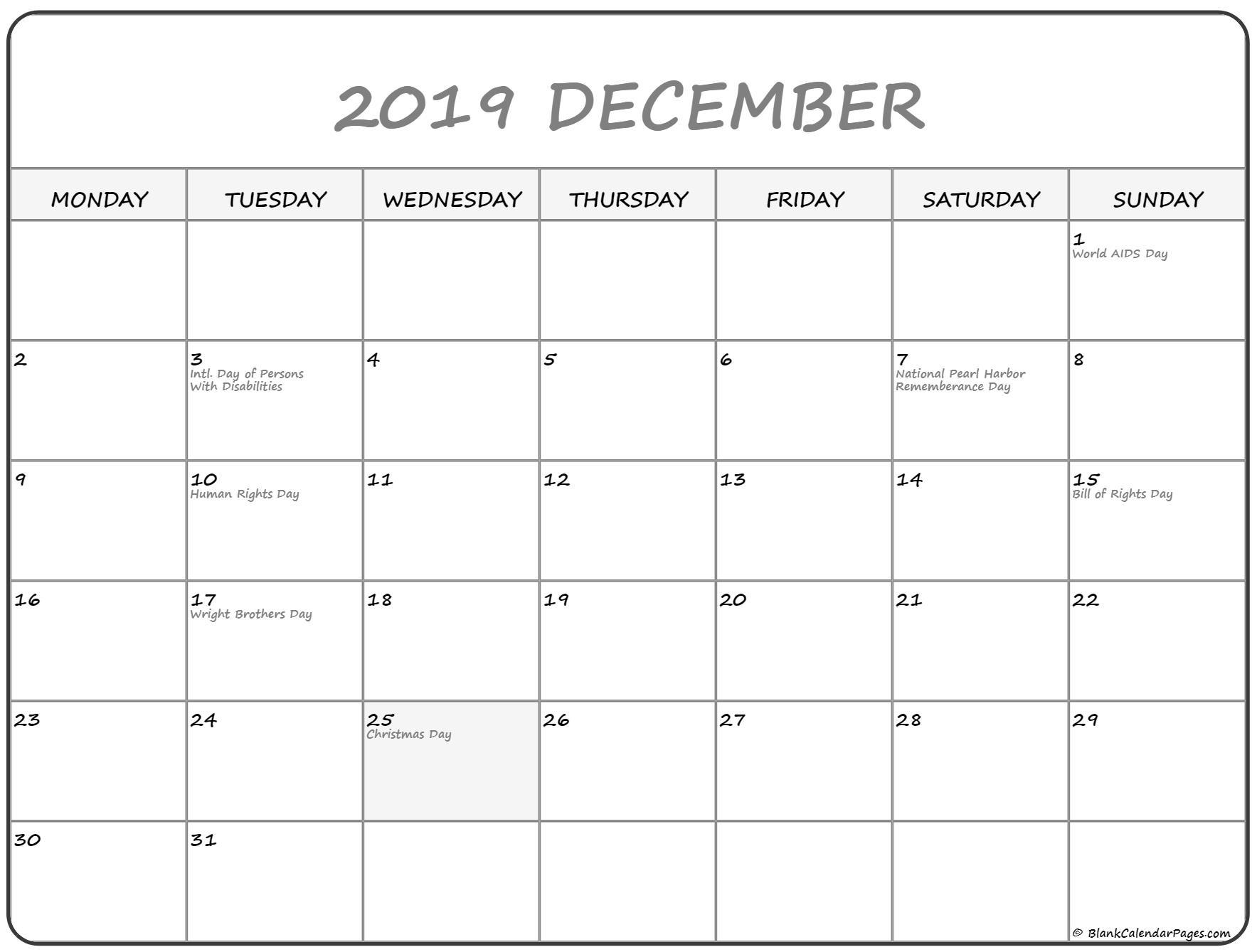 December 2019 Monday Calendar | Monday To Sunday regarding Printable Calendar Monday To Sunday