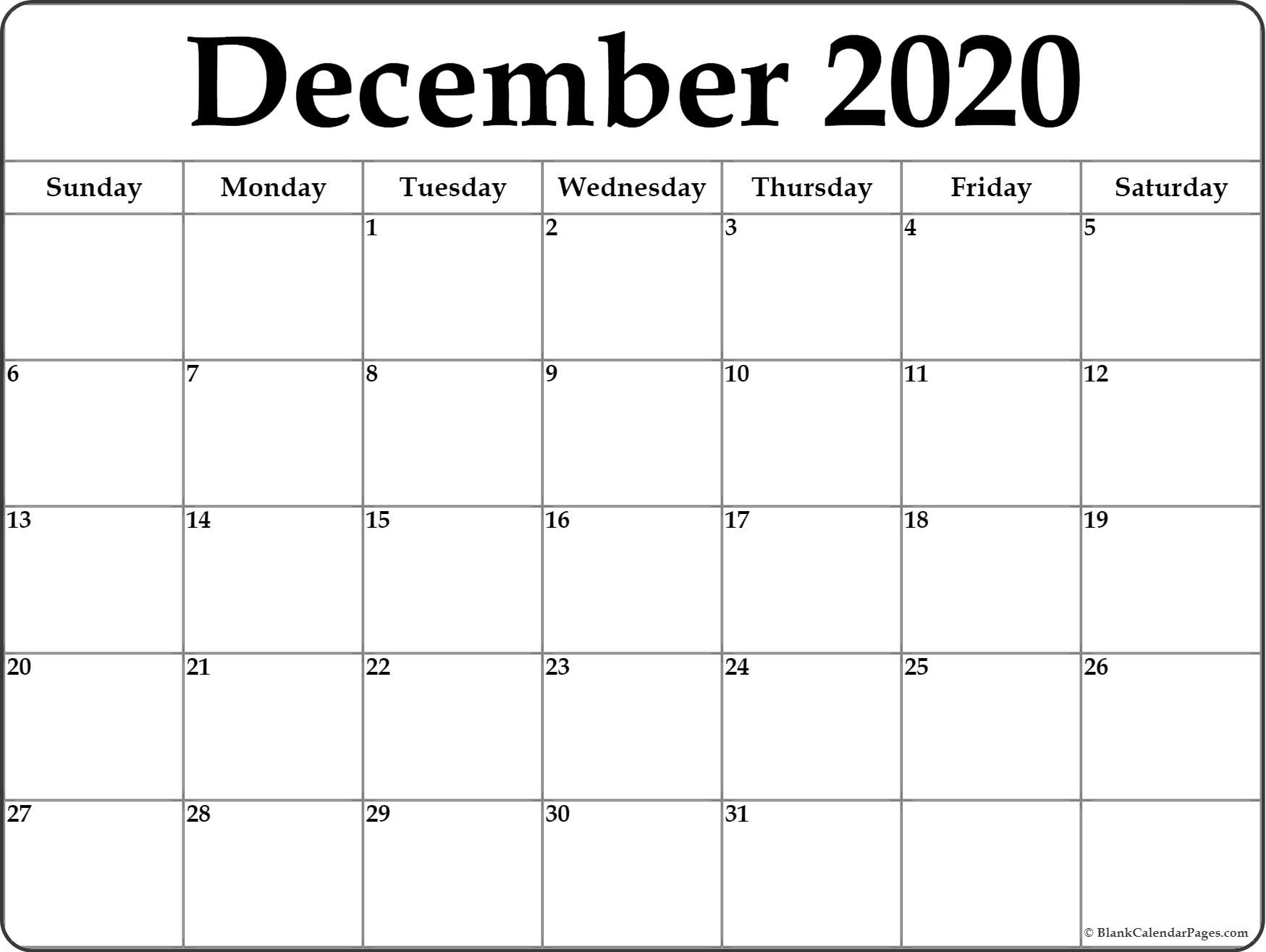 December 2020 Calendar | Free Printable Monthly Calendars pertaining to Printable Month At A Glance Calendar 2020
