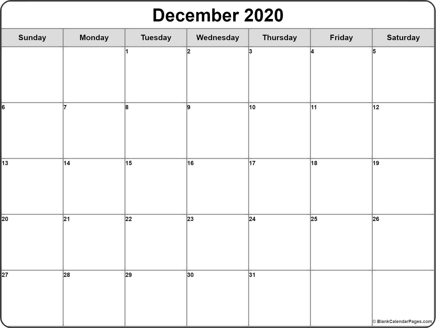 December 2020 Calendar   Free Printable Monthly Calendars within Printable Calendar 2020 Monthly Free