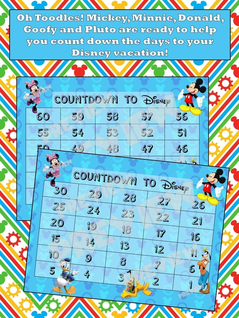 Disney Countdown Calendar - Mickey, Minnie, Donald, Goofy, Pluto, Clubhouse  - Instant Download Digital File -Vacation-Print At Home-Bluever2 with regard to Count Diwn Calendar Fir Disney Cruise