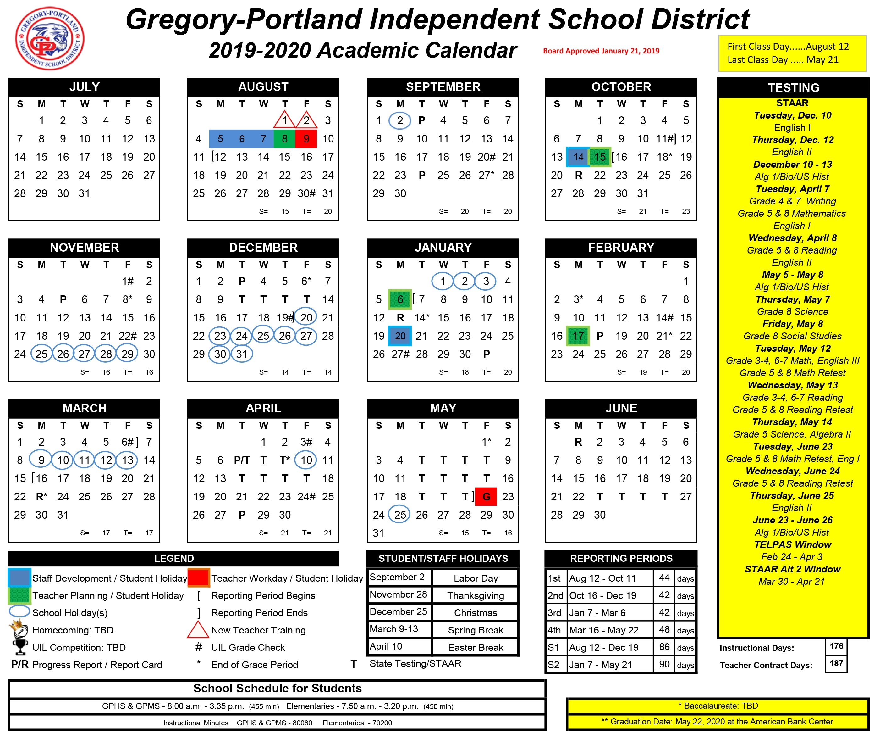 District Calendar, 2019-20 - Gregory-Portland Independent throughout Stephen F Austin 2020-2021 Calendar