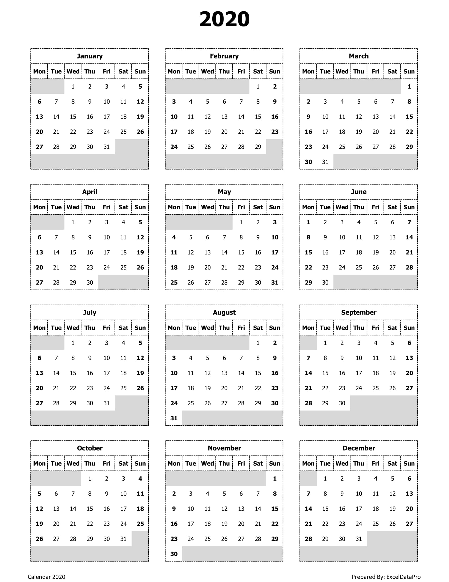 Download 2020 Yearly Calendar (Mon Start) Excel Template with regard to 2020 Calendar That Begins On Monday