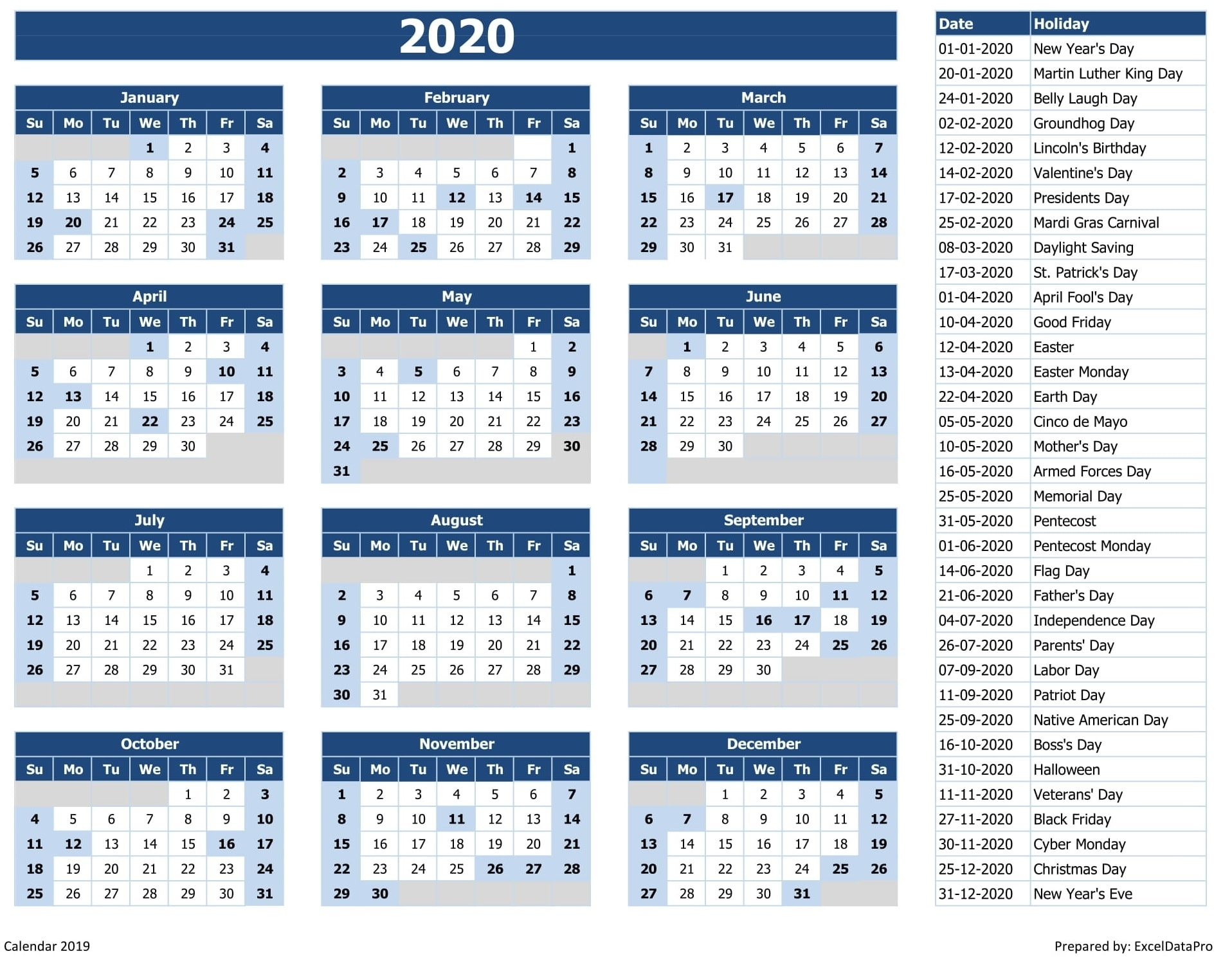 Download 2020 Yearly Calendar (Sun Start) Excel Template for 2020 Calendar With All Function