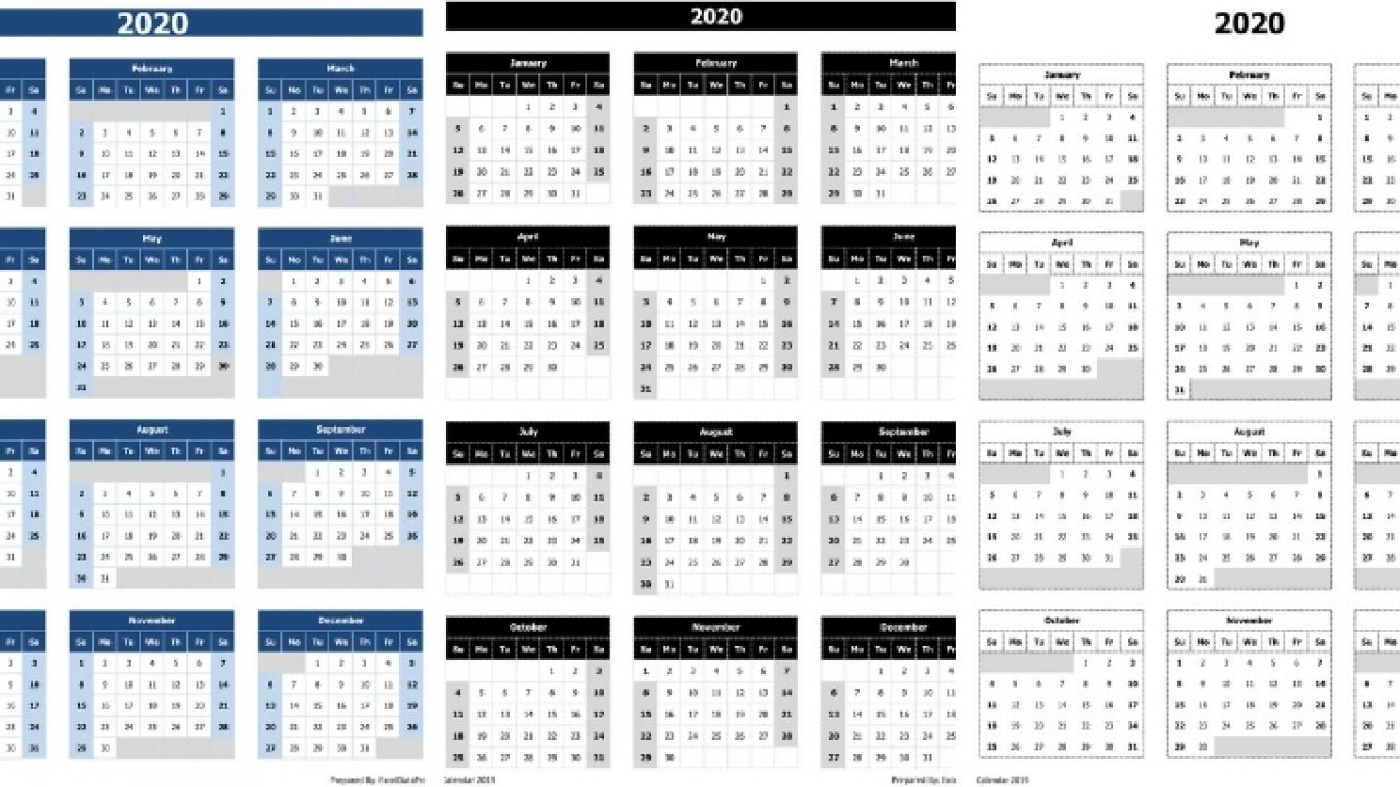 Download 2020 Yearly Calendar (Sun Start) Excel Template in 2020 Calendar In Excel Formula