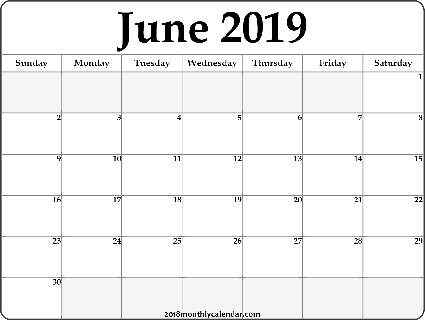 Download June 2019 Printable Calendar - Printable Blank throughout Editable Calendar July 2019-June 2020