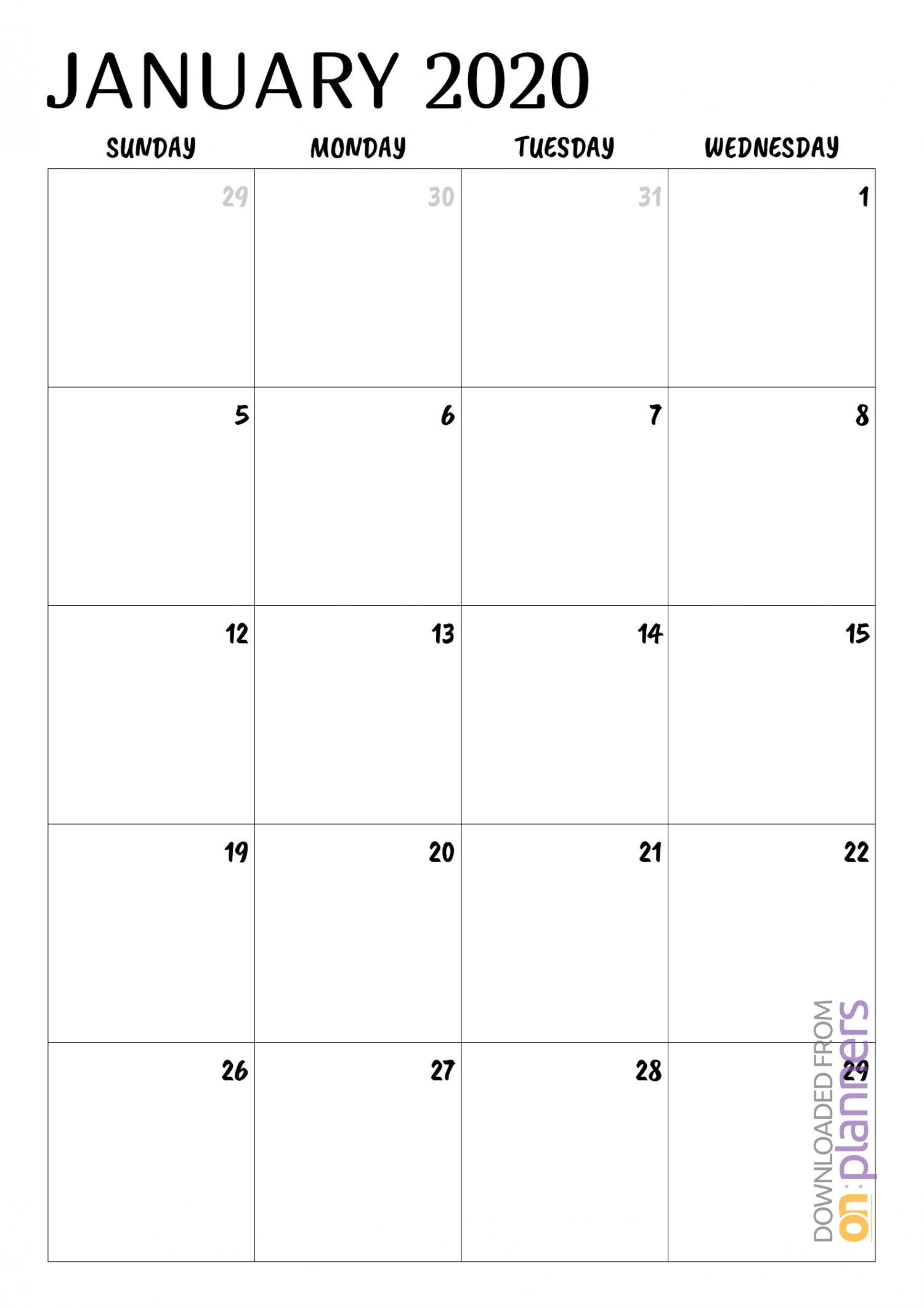 Download Printable Minimal Monthly Calendar Pdf intended for Printable Fillable 2020 Calandars Monthly At A Glance