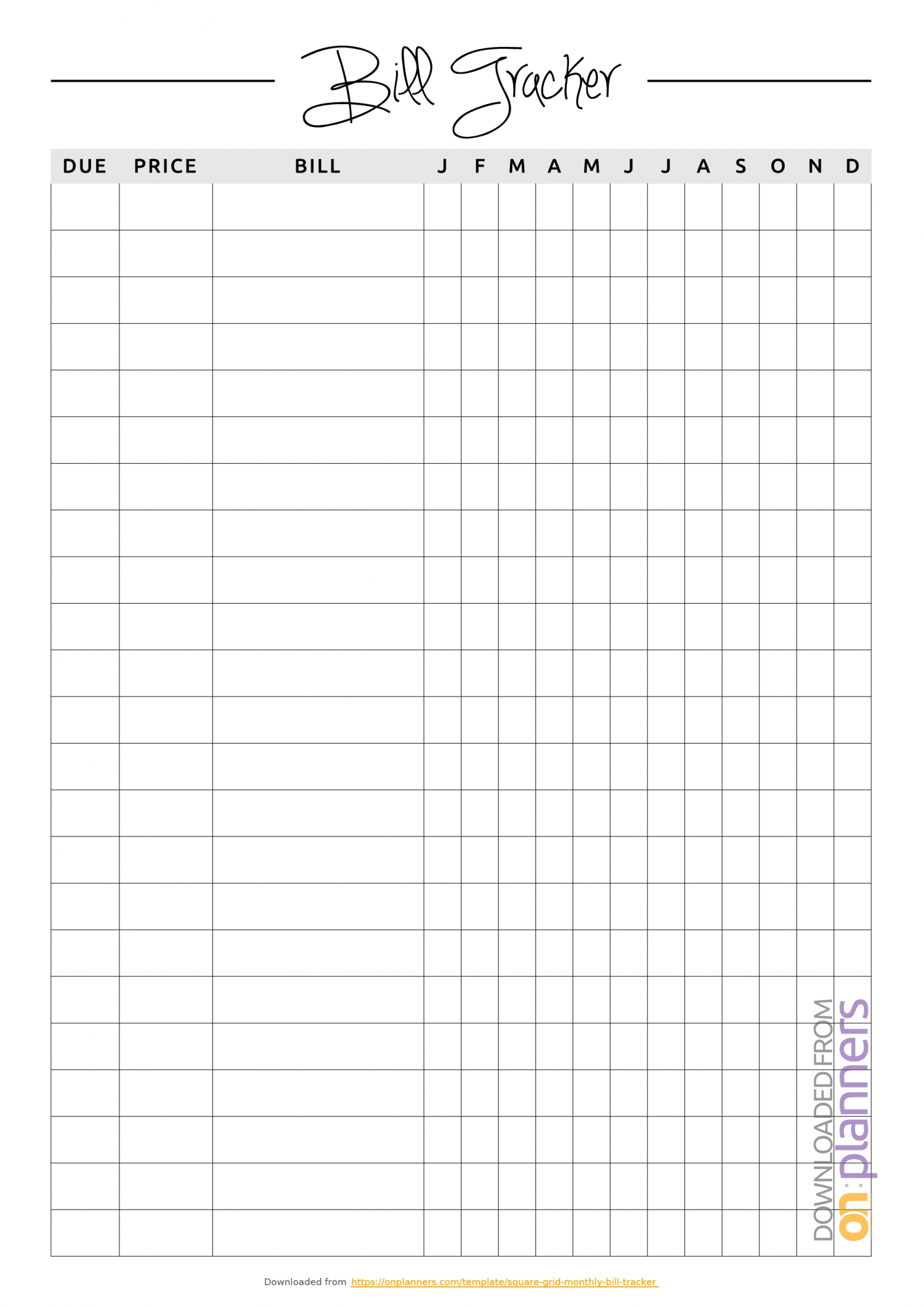Download Printable Square Grid Monthly Bill Tracker Pdf inside Bill Organizer Free Print Month Year