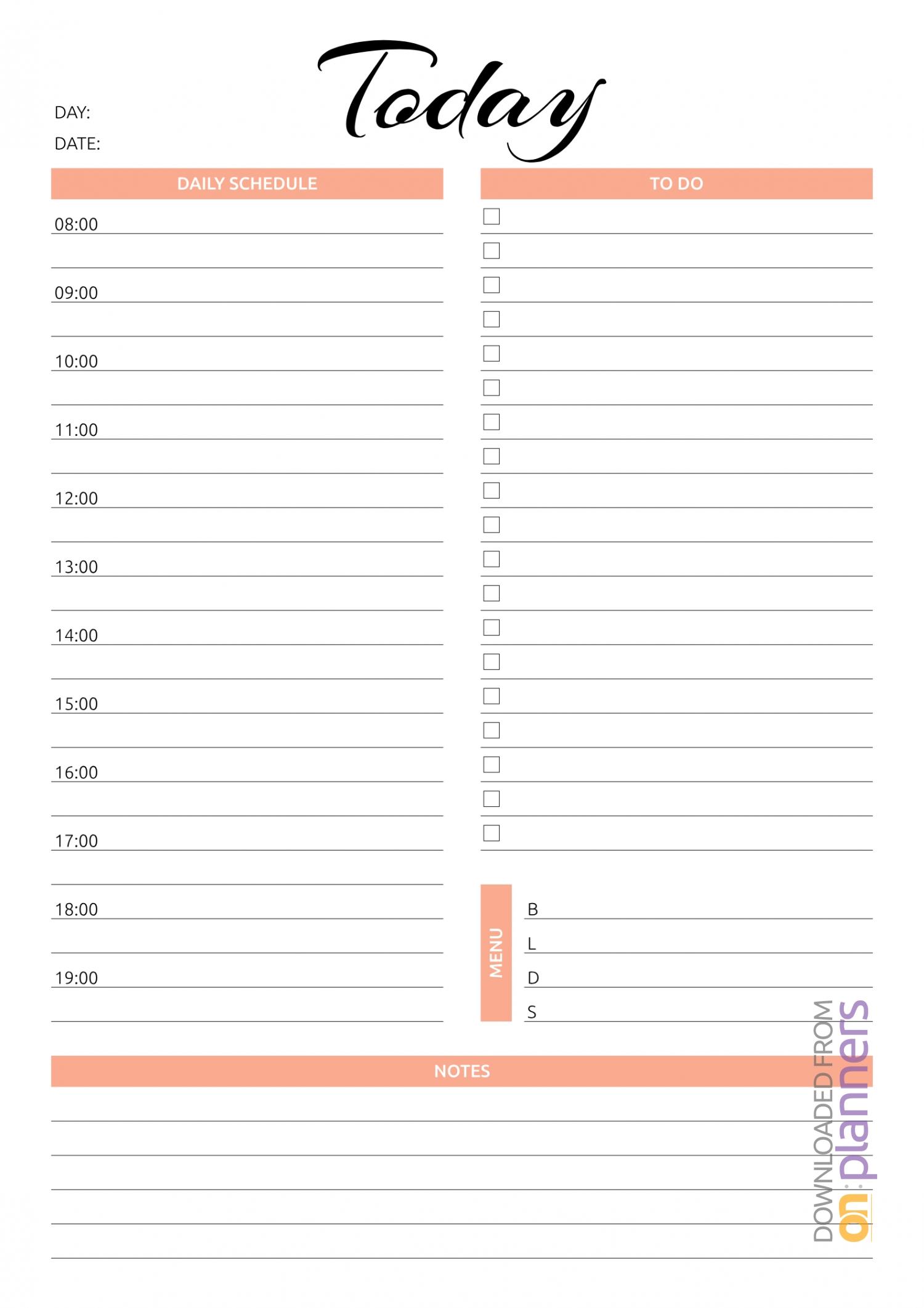 Download Printable Today Hourly Planner Pdf regarding Printable Half Hour Day Planner