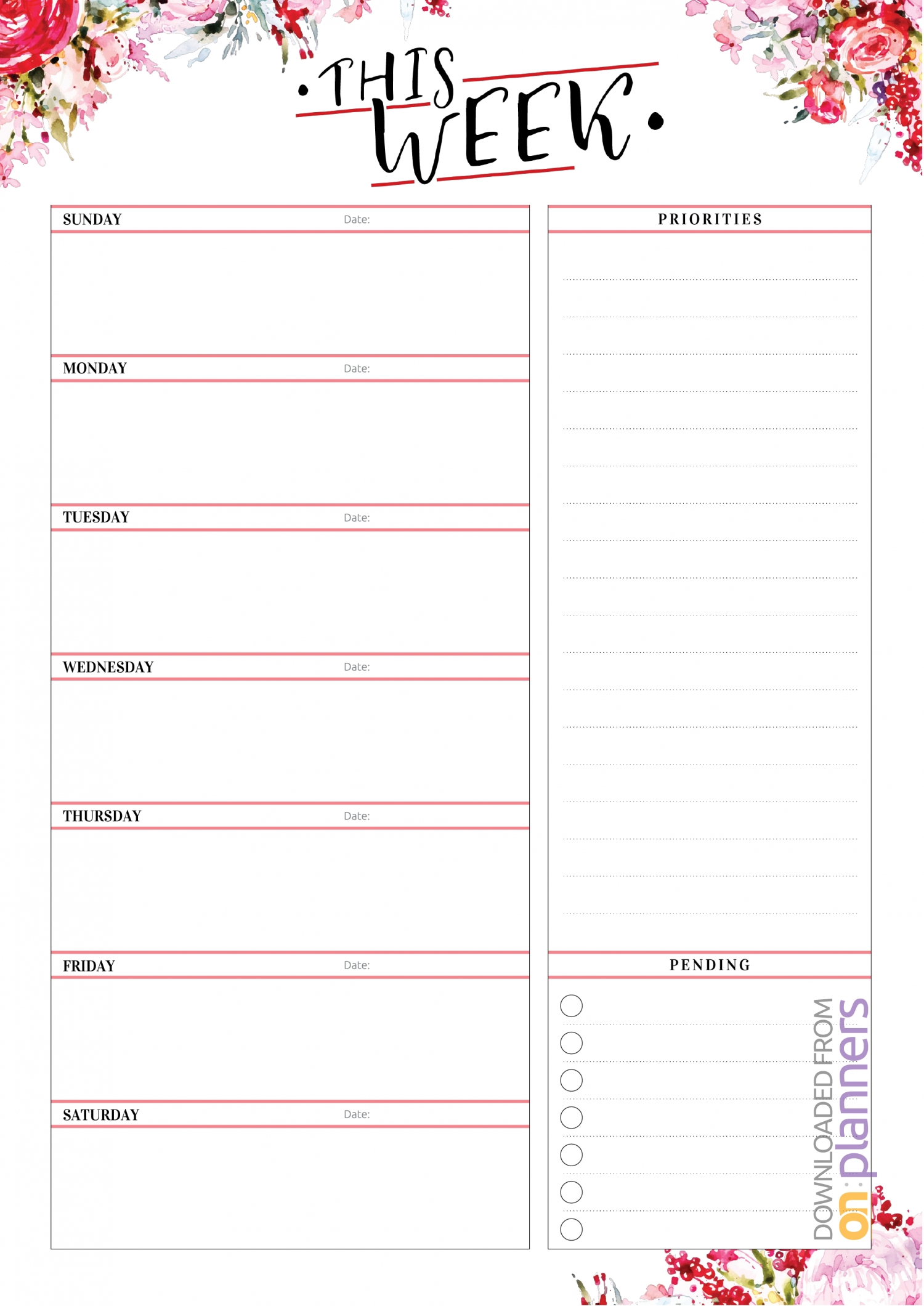 Download Printable Weekly Planner With Priorities Pdf throughout Pdf Free Monday - Friday Weekly Planner
