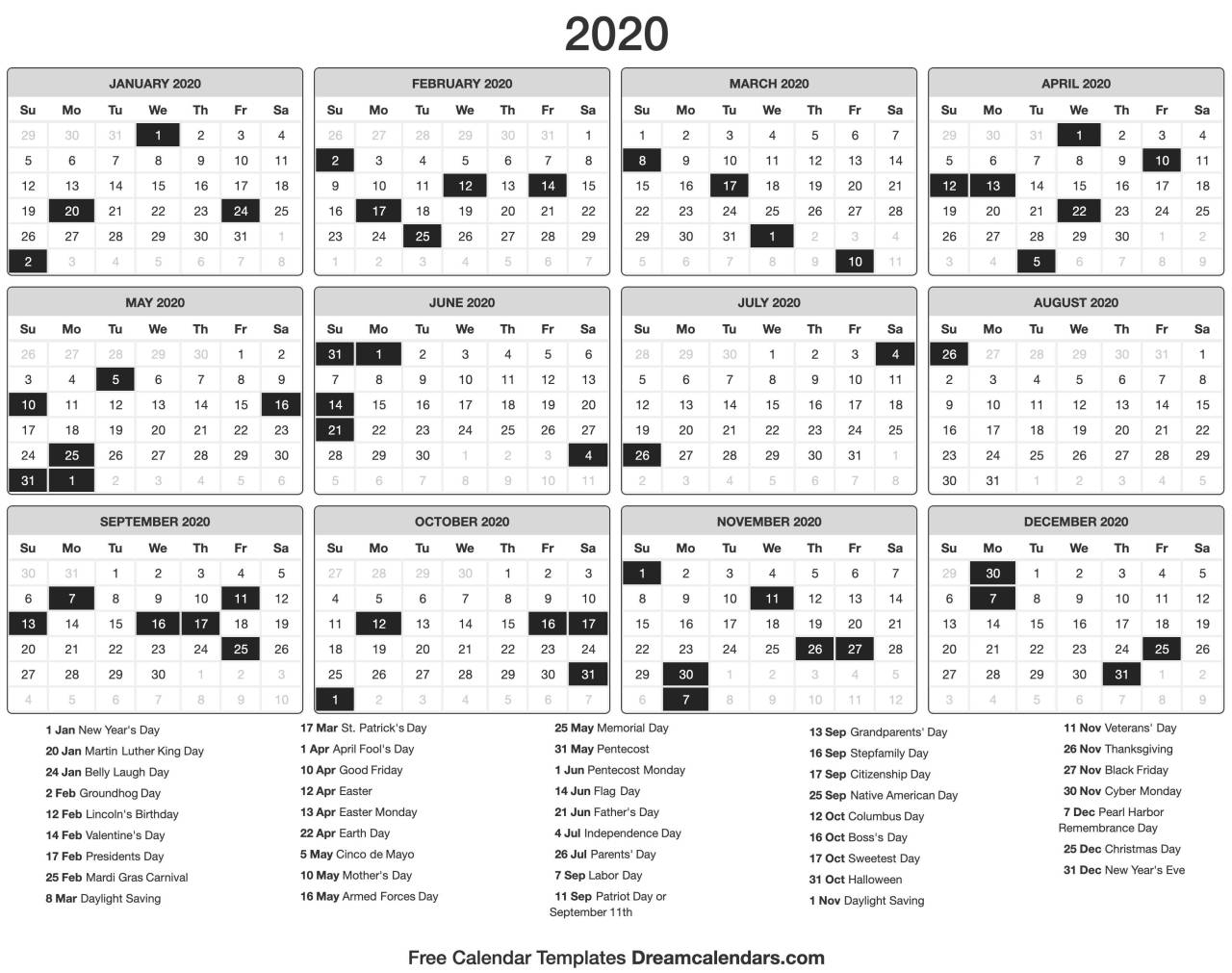Dream Calendars: Make It 2020 Template — Printable 2020 for Roman Catholic Liturgical Calendar 2020 Excel Format