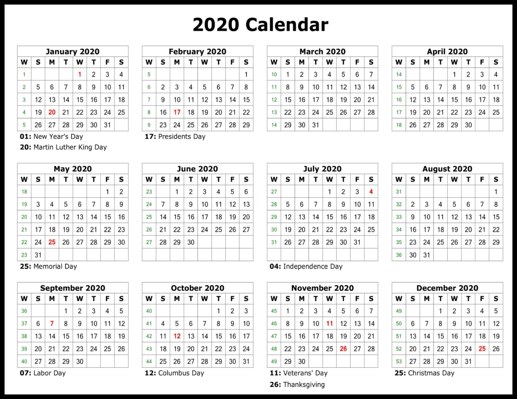 ❤️free Yearly 2020 Printable Calendar Templates [Pdf, Word intended for Download Free Printable 2020 Calendar
