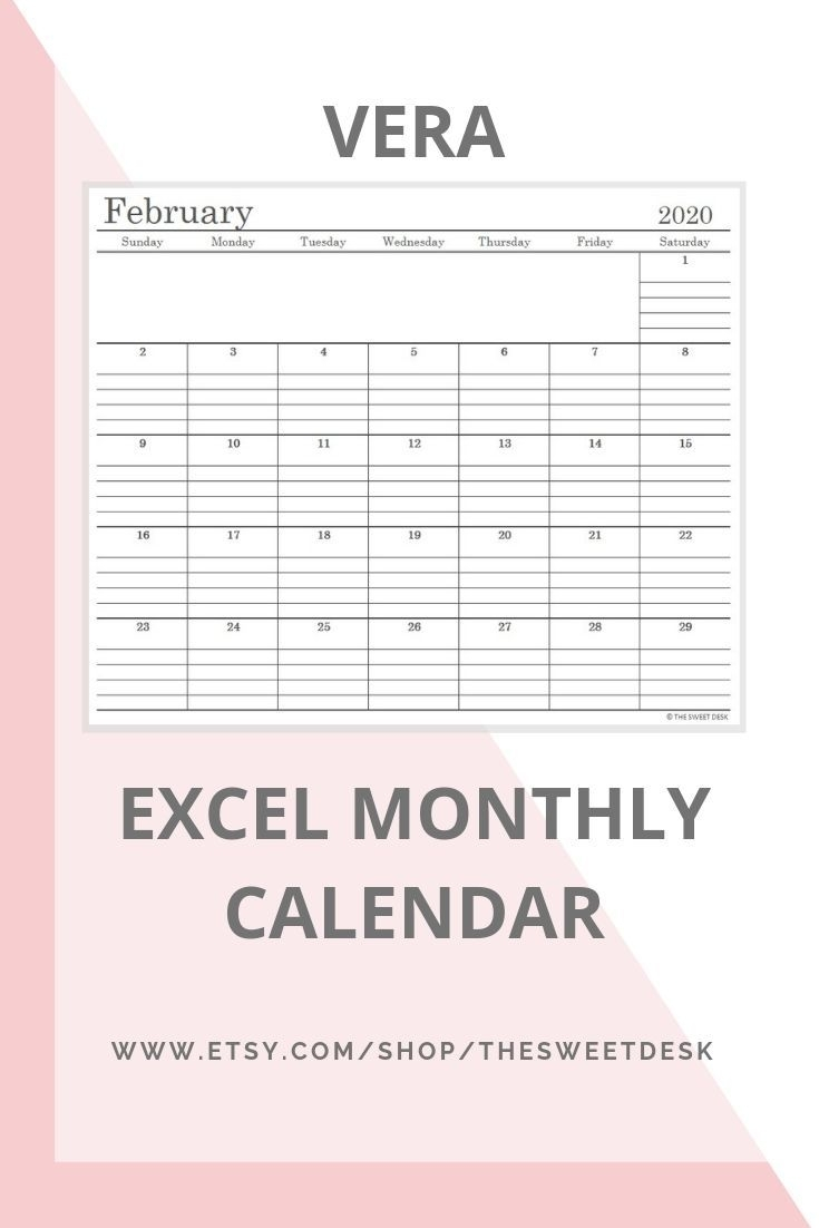 Editable 2020 Excel Calendar Template | Printable Minimalist pertaining to Excel Formula For Calendar Year 2020
