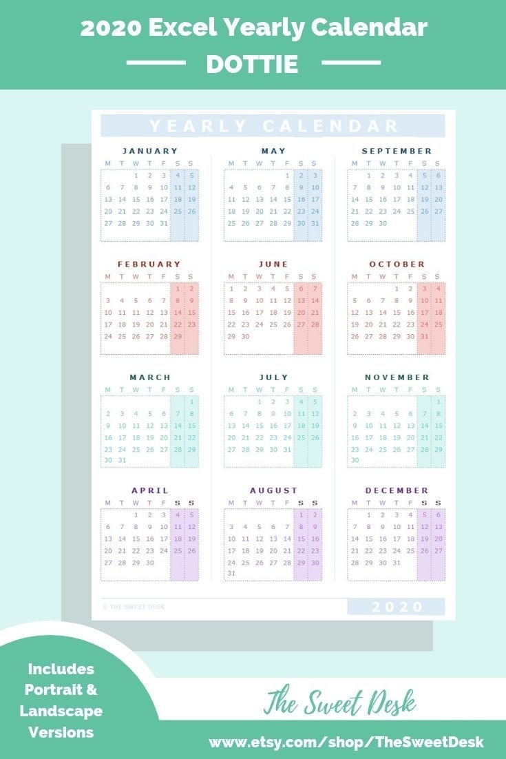 Editable 2020 Excel Yearly Calendar Template | Printable intended for Printable Fillable 2020 Calandars Monthly At A Glance