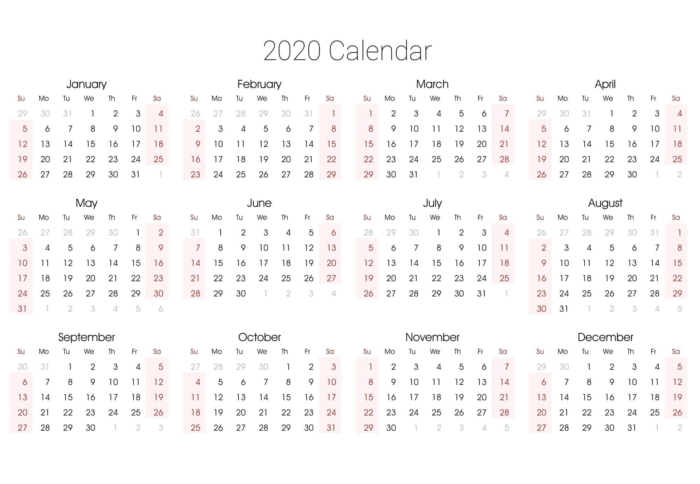 Editable 2020 Yearly Calendar Printable Pdf Word - Set Your for Printable Fillable 2020 Calandars Monthly At A Glance