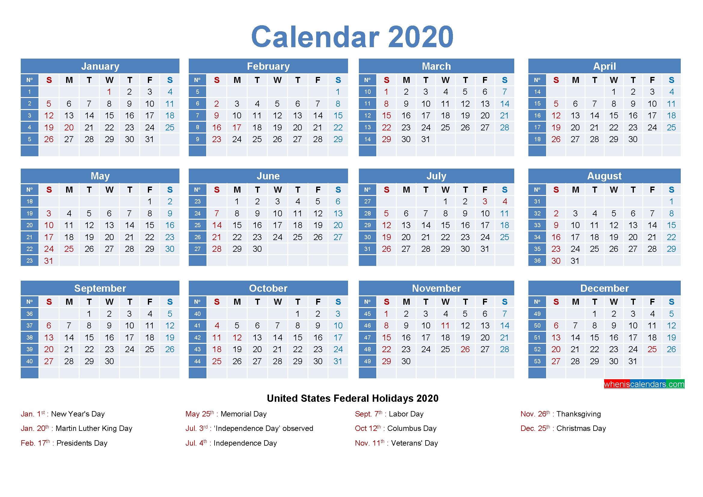 Editable Printable Calendar 2020 Word - Template No.ep20Y8 with 2020 Calendar With Week Numbers Printable