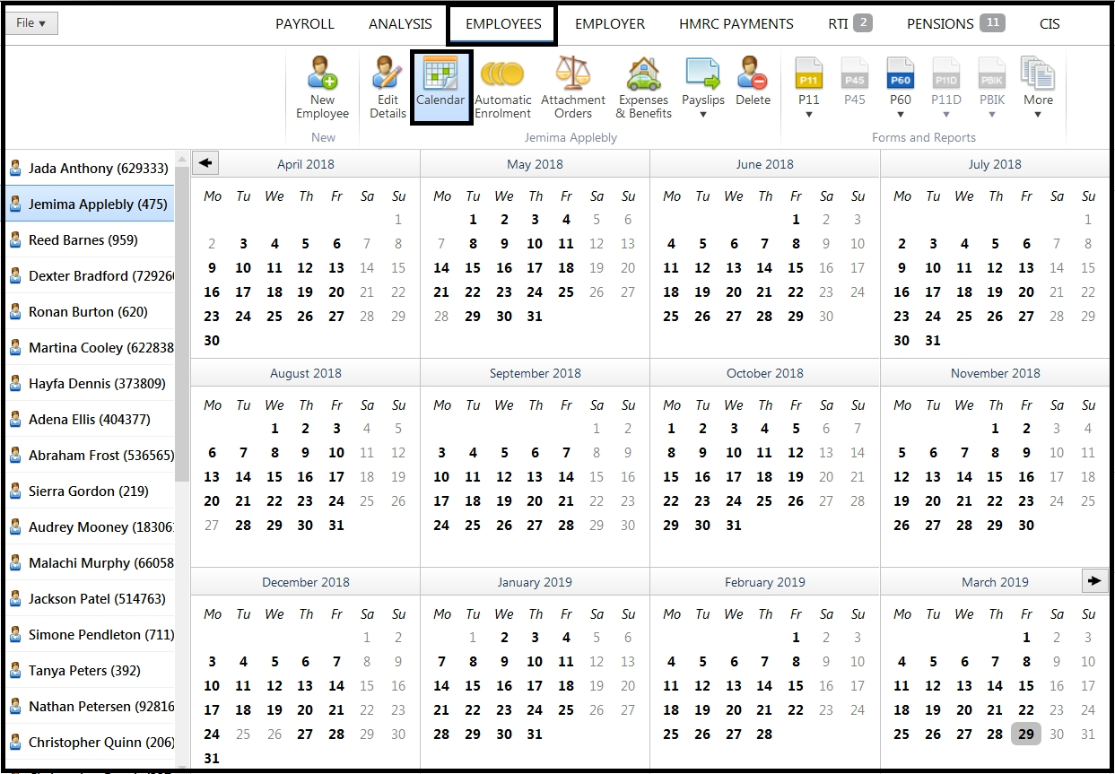 Employee Calendar - Brightpay Documentation throughout Hmrc Tax Weeks 2019 20 Calendar