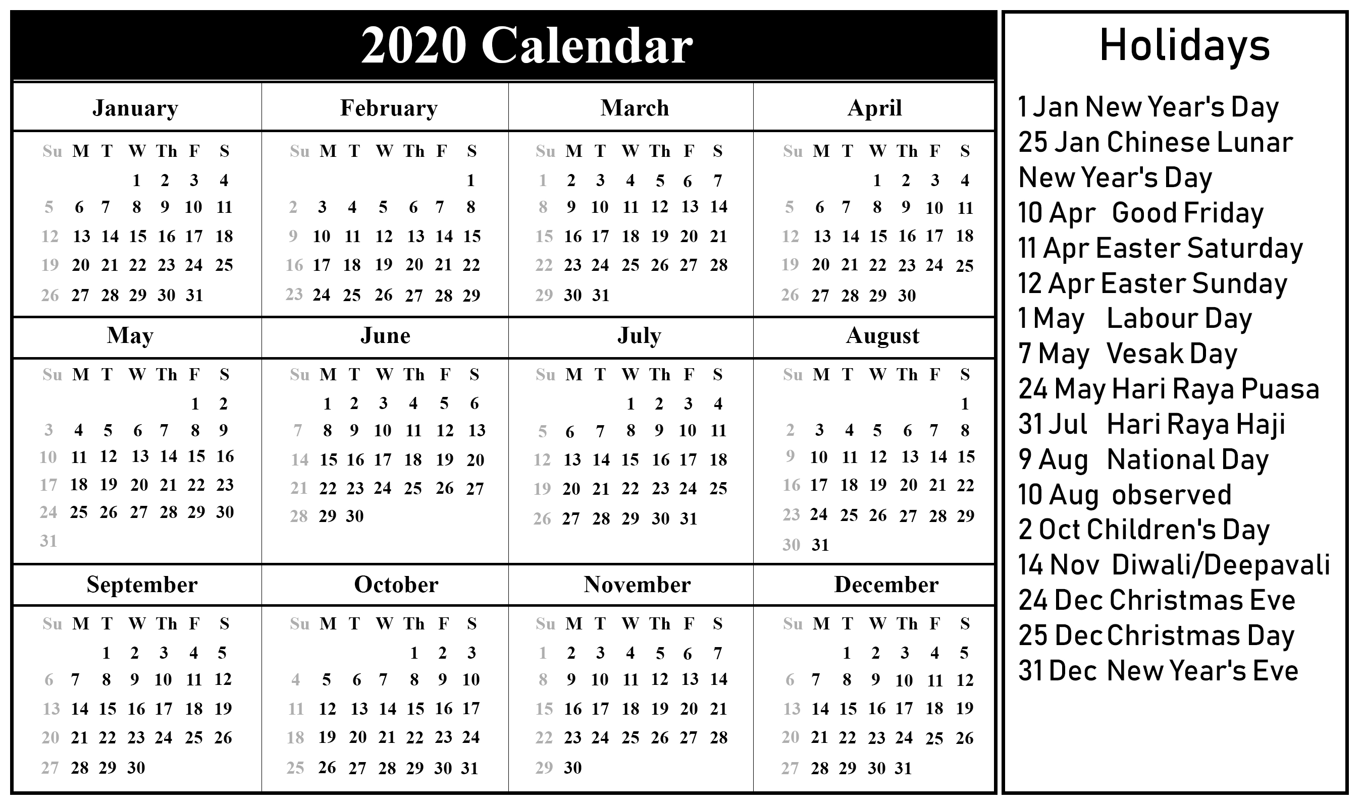 😄free Printable Singapore 2020 Calendar With Holidays In throughout 2020 Calendar With Important Dates