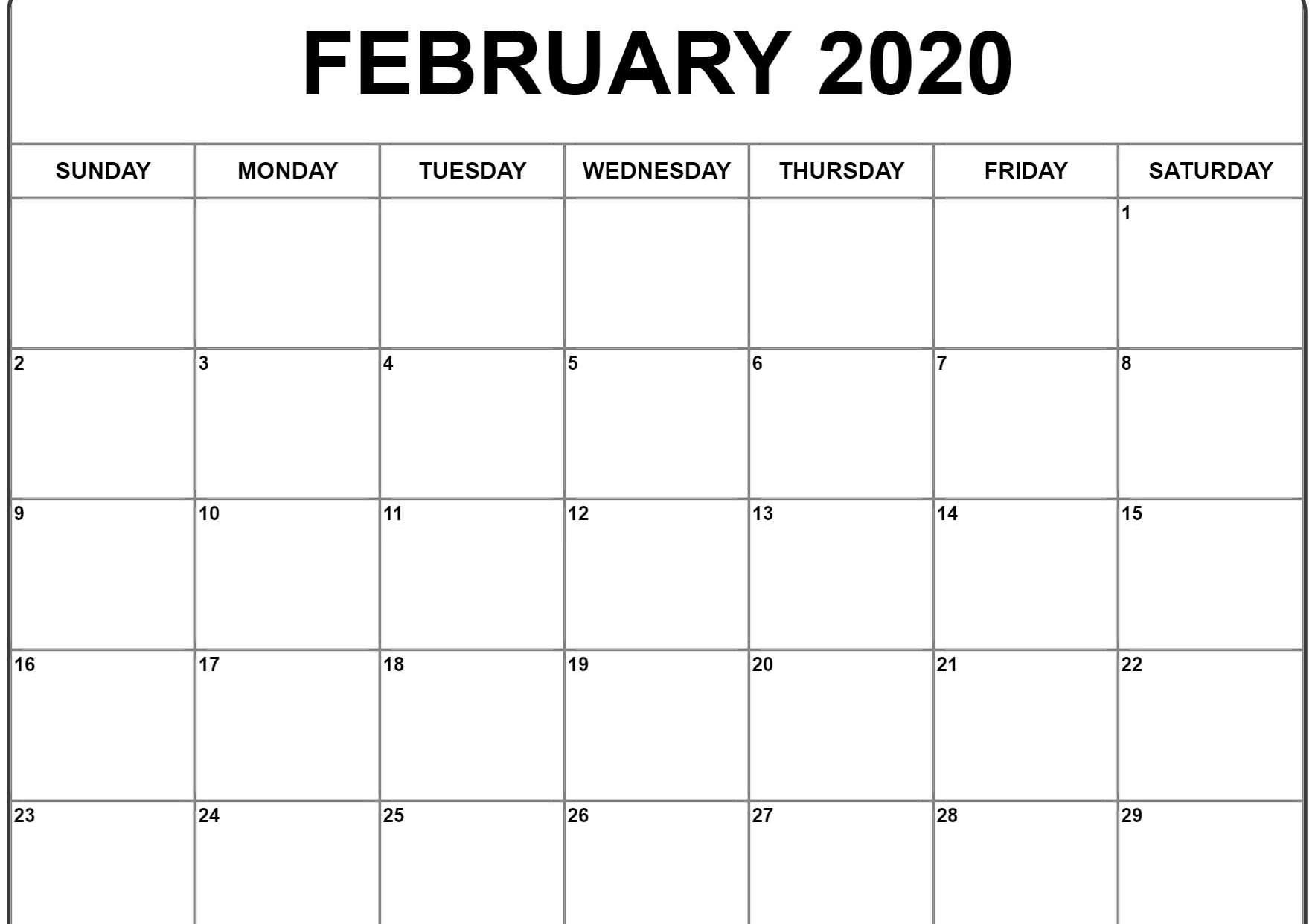 February 2020 Calendar Excel | Monthly Calendar Template in February 2020 Calender That I Can Fill In