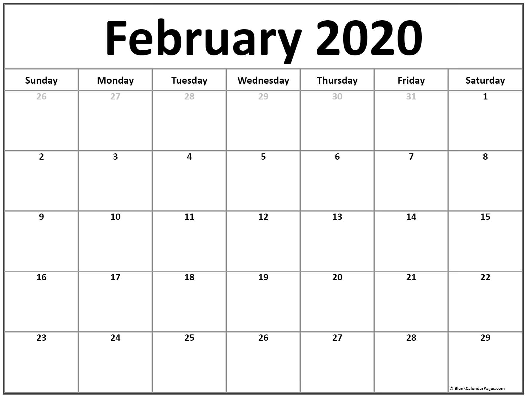 February 2020 Calendar | Free Printable Monthly Calendars pertaining to Calender 2020 With Space To Write
