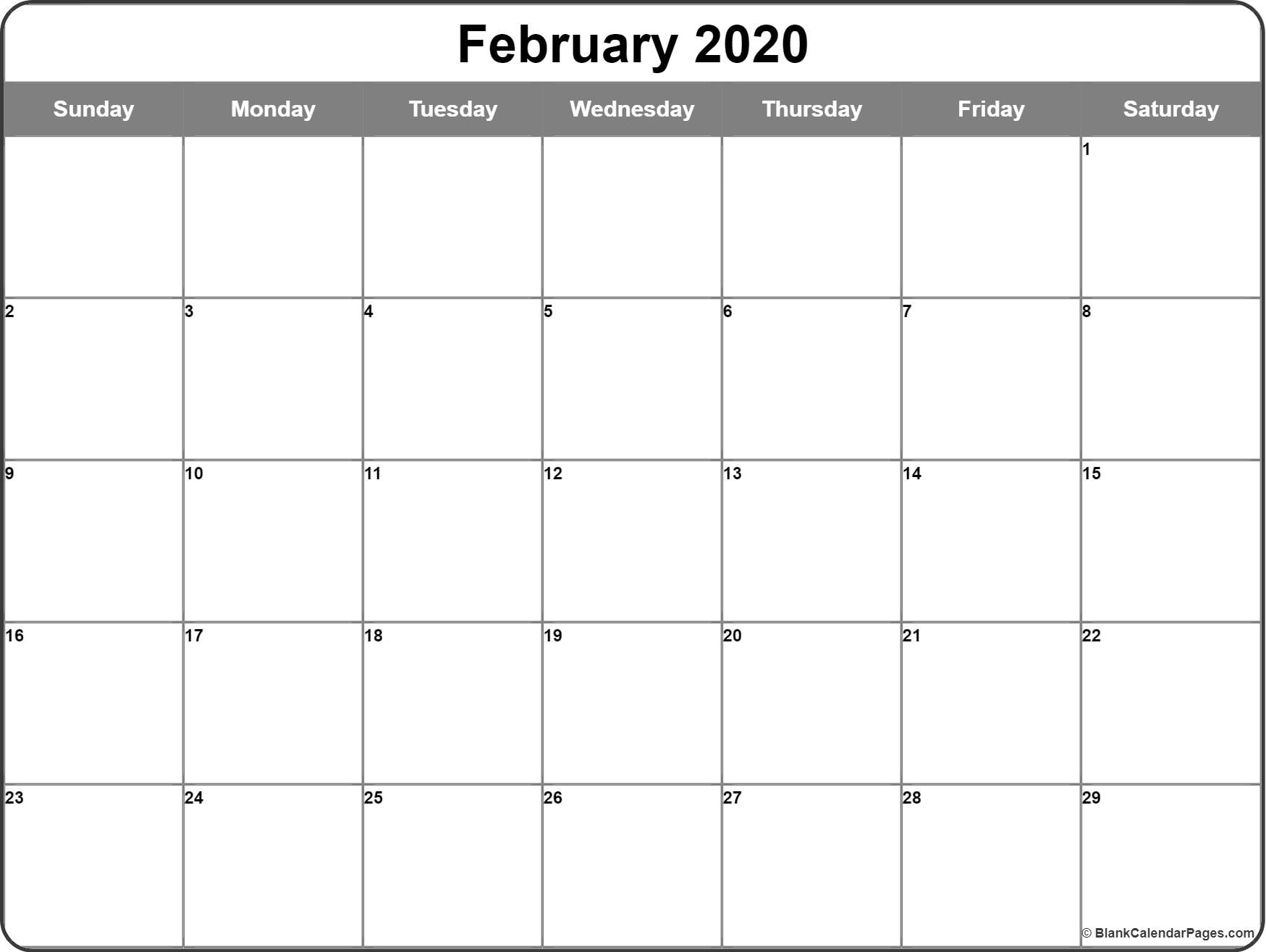 February 2020 Calendar | Free Printable Monthly Calendars regarding Free Printable Calander 2020 Victoria Wiht Spaces To Write