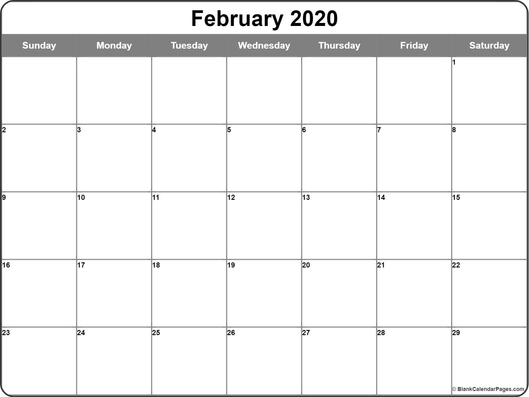 February 2020 Calendar | Free Printable Monthly Calendars regarding Free Printable Calander 2020 Victoria Wiht Spaces To Write