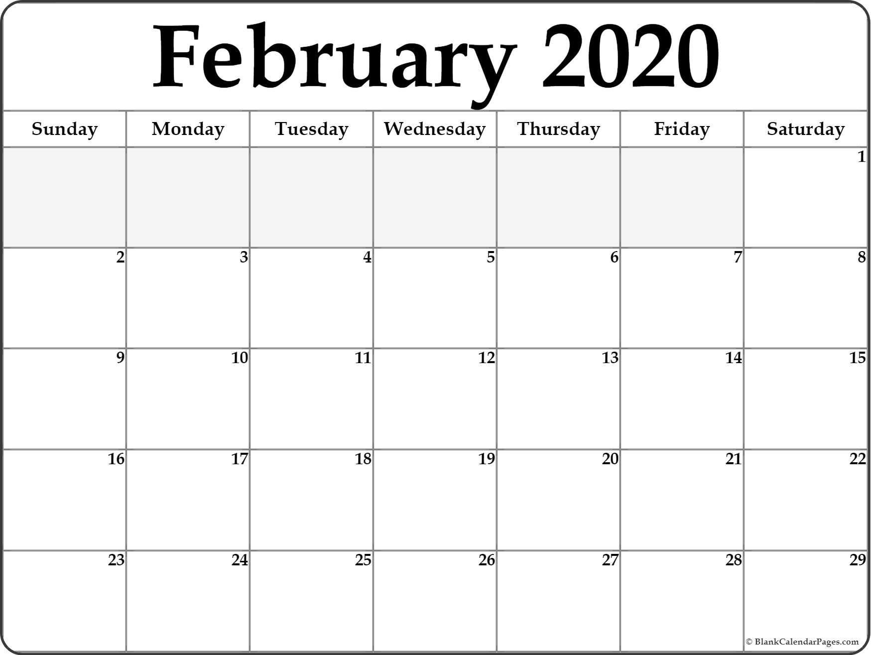 February 2020 Calendar | Free Printable Monthly Calendars within Free Printable Calander 2020 Victoria Wiht Spaces To Write