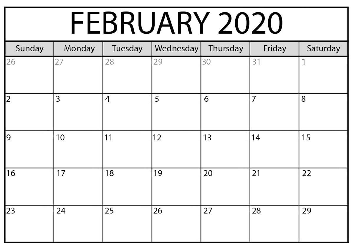 February 2020 Calendar Pdf | Free Printable Calendar regarding February 2020 Calender That I Can Fill In