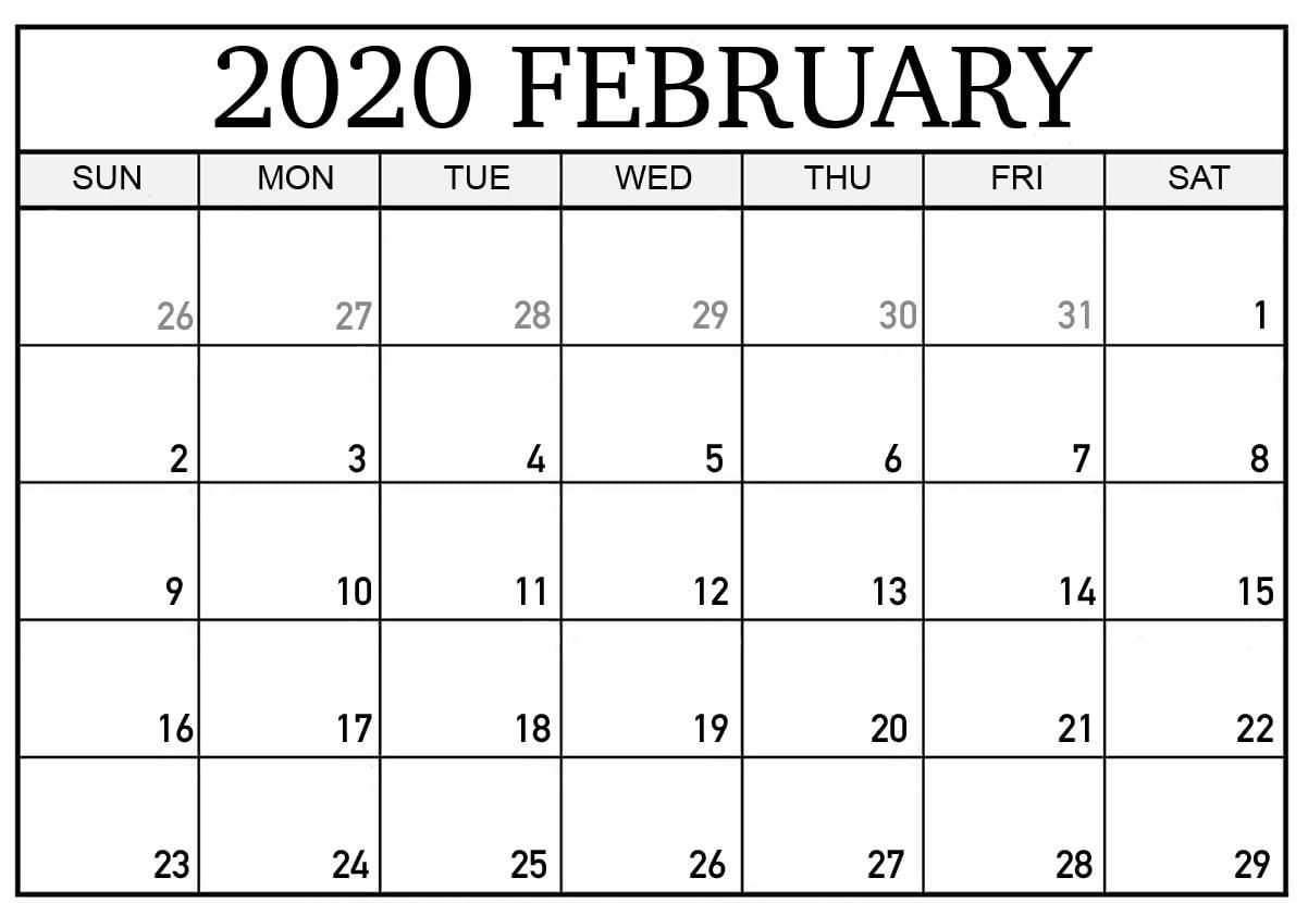 February 2020 Calendar | Printable Calendar Template, Excel for 2020 Calendar With Special Days