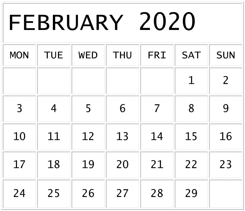 February 2020 Calendar Template For Google Sheets – Free with regard to Roman Catholic Liturgical Calendar 2020 Excel Format