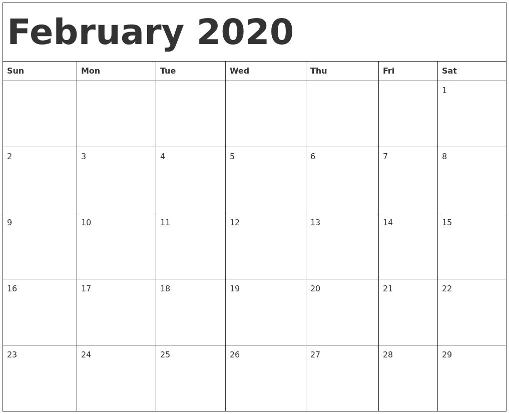 February 2020 Calendar Template with 2020 Calendar Template Monday Sunday