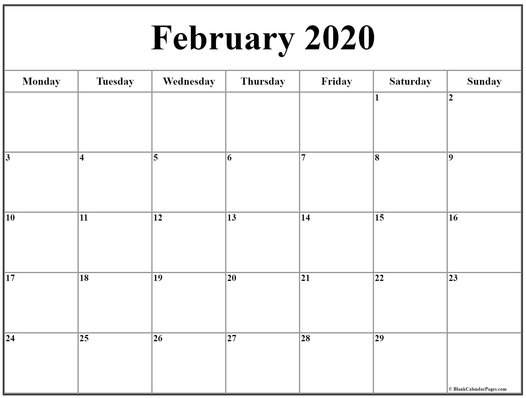 February 2020 Monday Calendar | Monday To Sunday for 2020 Calendar That Begins On Monday