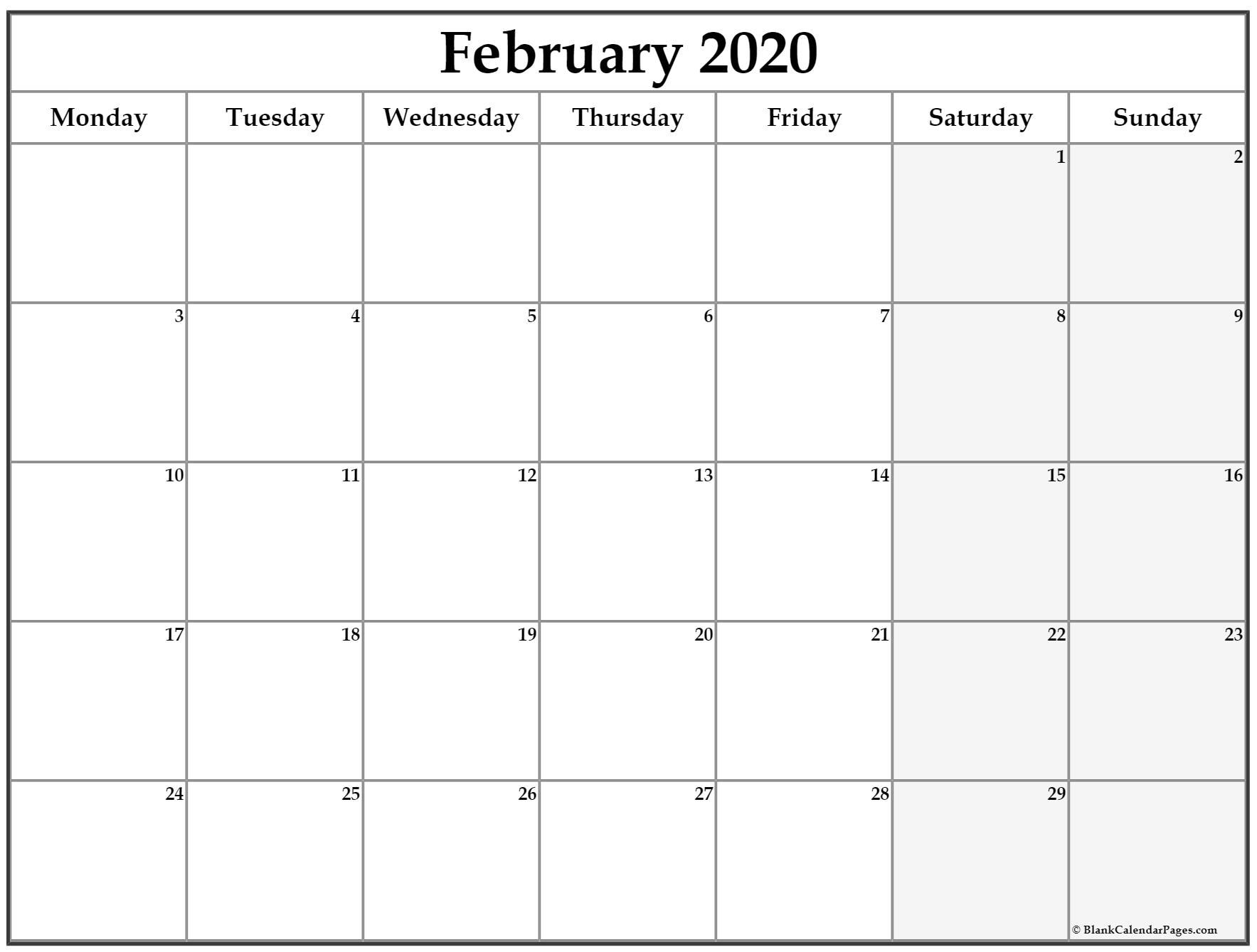 February 2020 Monday Calendar | Monday To Sunday regarding 2020 Calendar Print Mon To Sunday