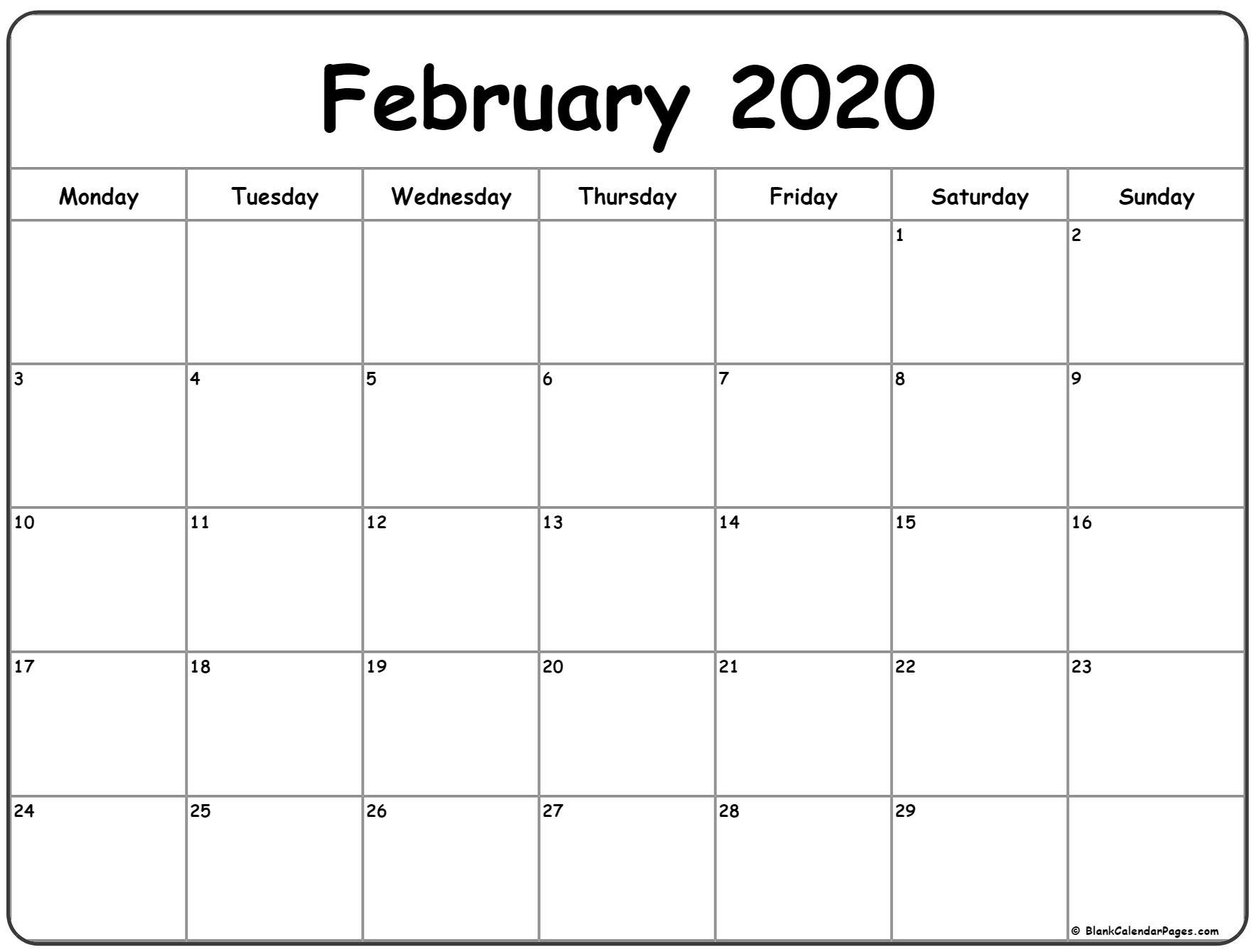 February 2020 Monday Calendar | Monday To Sunday regarding Monday To Sunday 2020 Calendar
