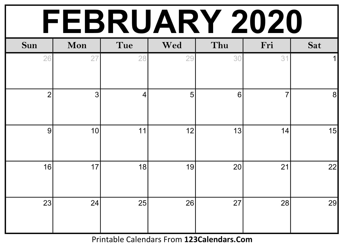 February 2020 Printable Calendar | 123Calendars throughout February 2020 Calender That I Can Fill In