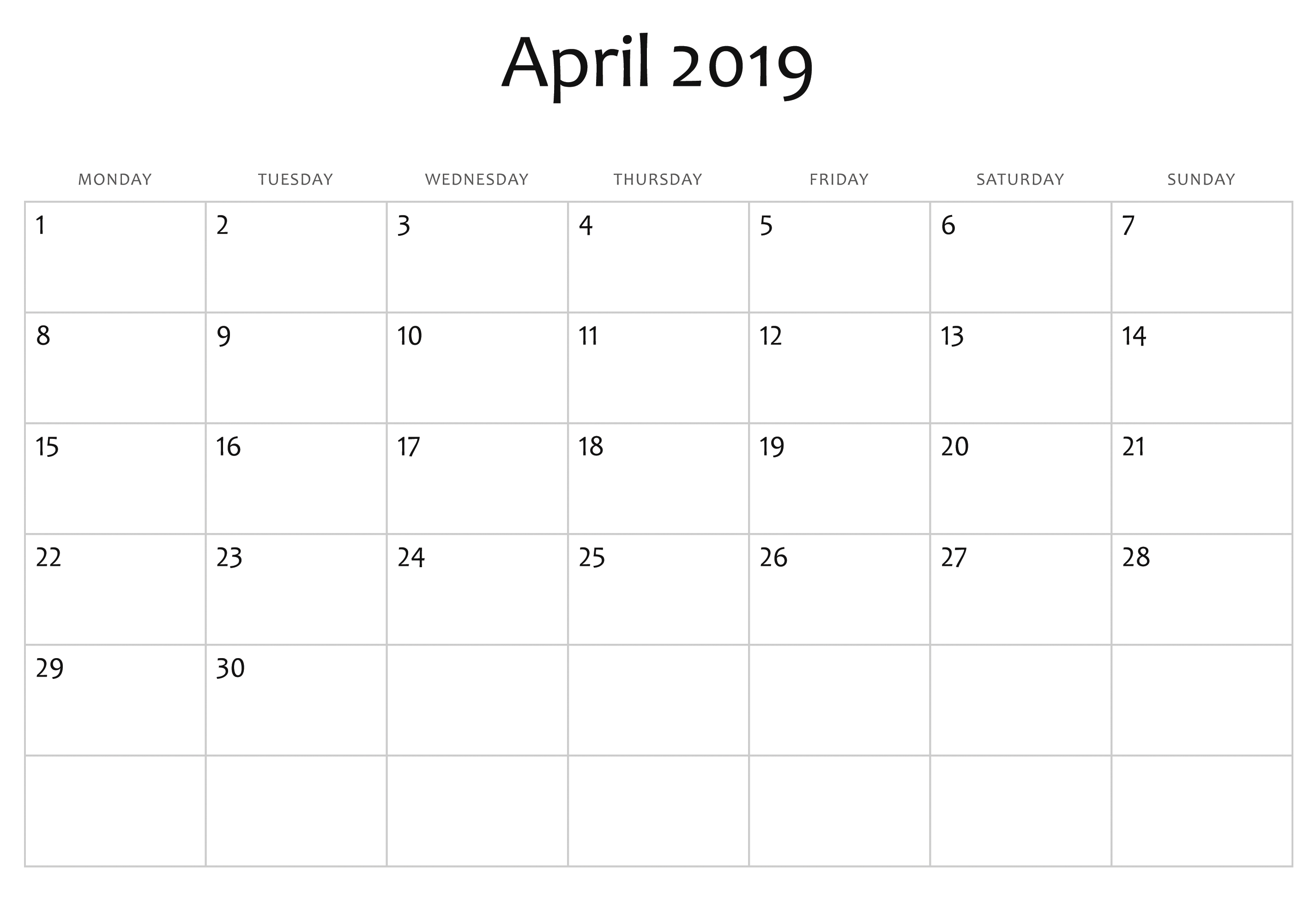 Fillable Blank April 2019 Calendar Printable Template in Printable Fill In Calendar 2019
