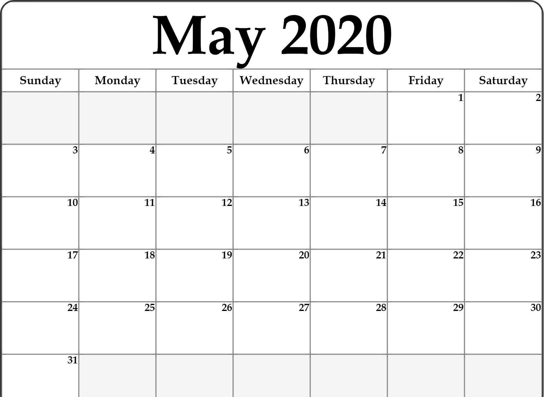 Fillable May 2020 Calendar Editable Printable Notes To Do throughout 2020 Printable Fill In Calendar