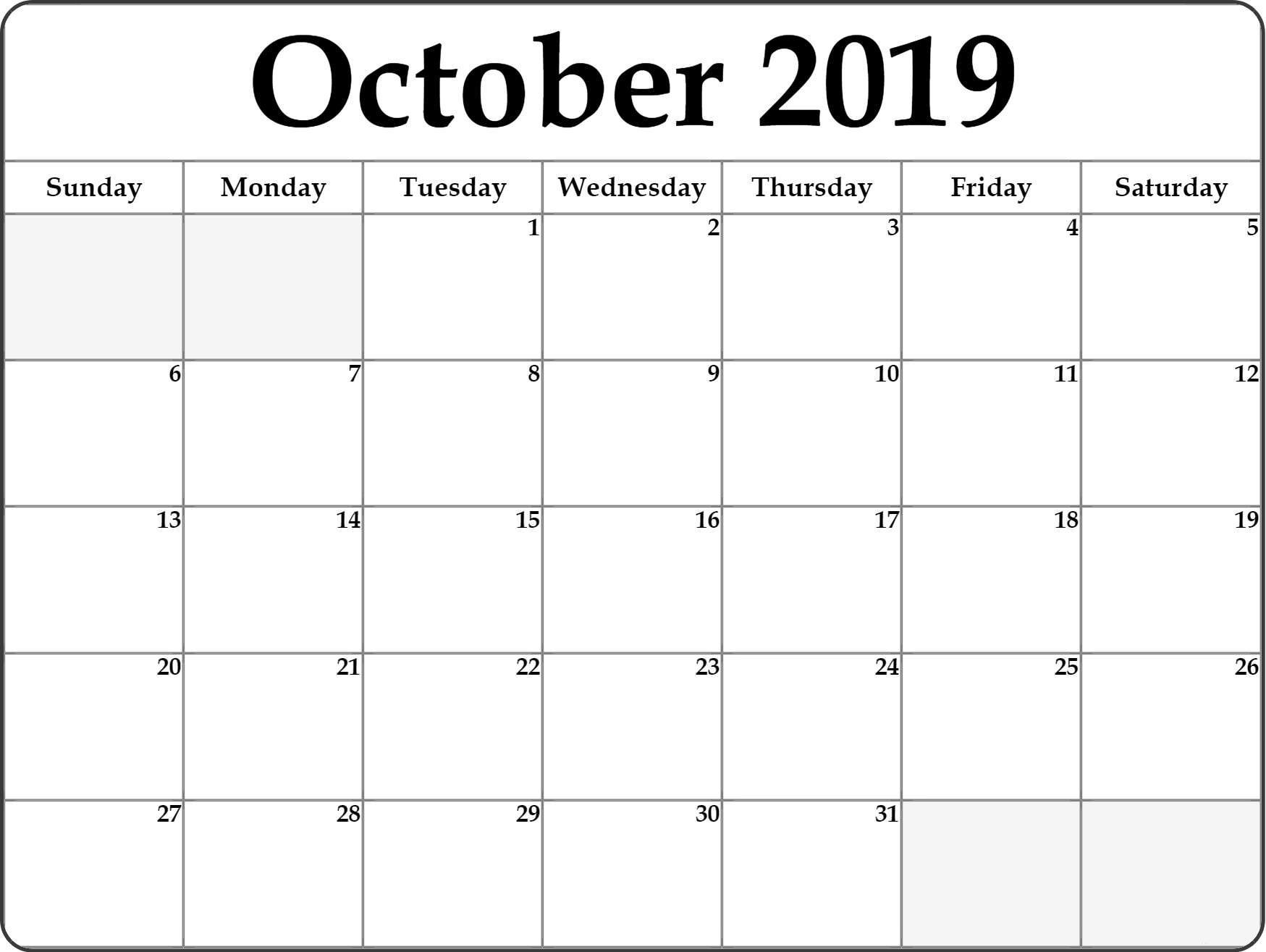 Fillable October Calendar 2019 Editable Printable Notes To throughout Printable Fill In Calendar 2019