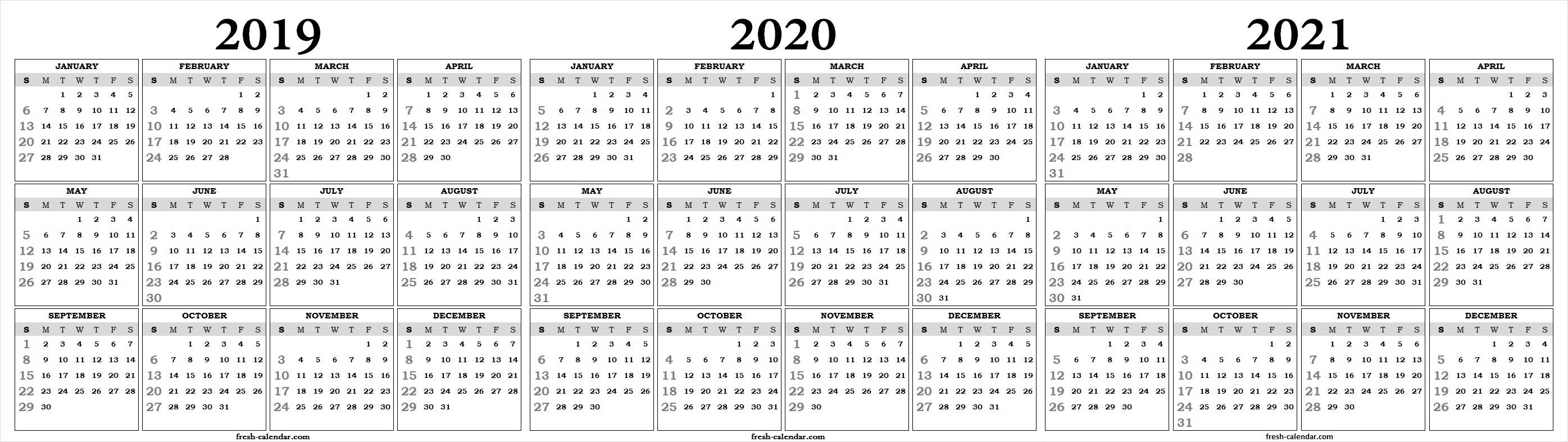 Fine 3 Year Calendar 2019 To 2021 : Mini Calendar Template with 3 Year Calendar Printable 2019 2020 2021