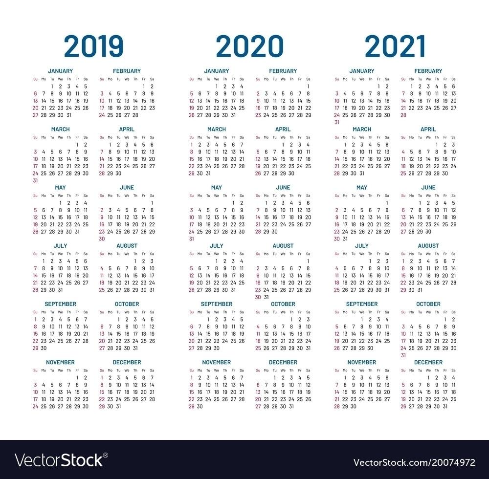 Fine 3 Year Calendar 2019 To 2021 : Mini Calendar Template with regard to Three-Year Calendar 2019 2020 2021