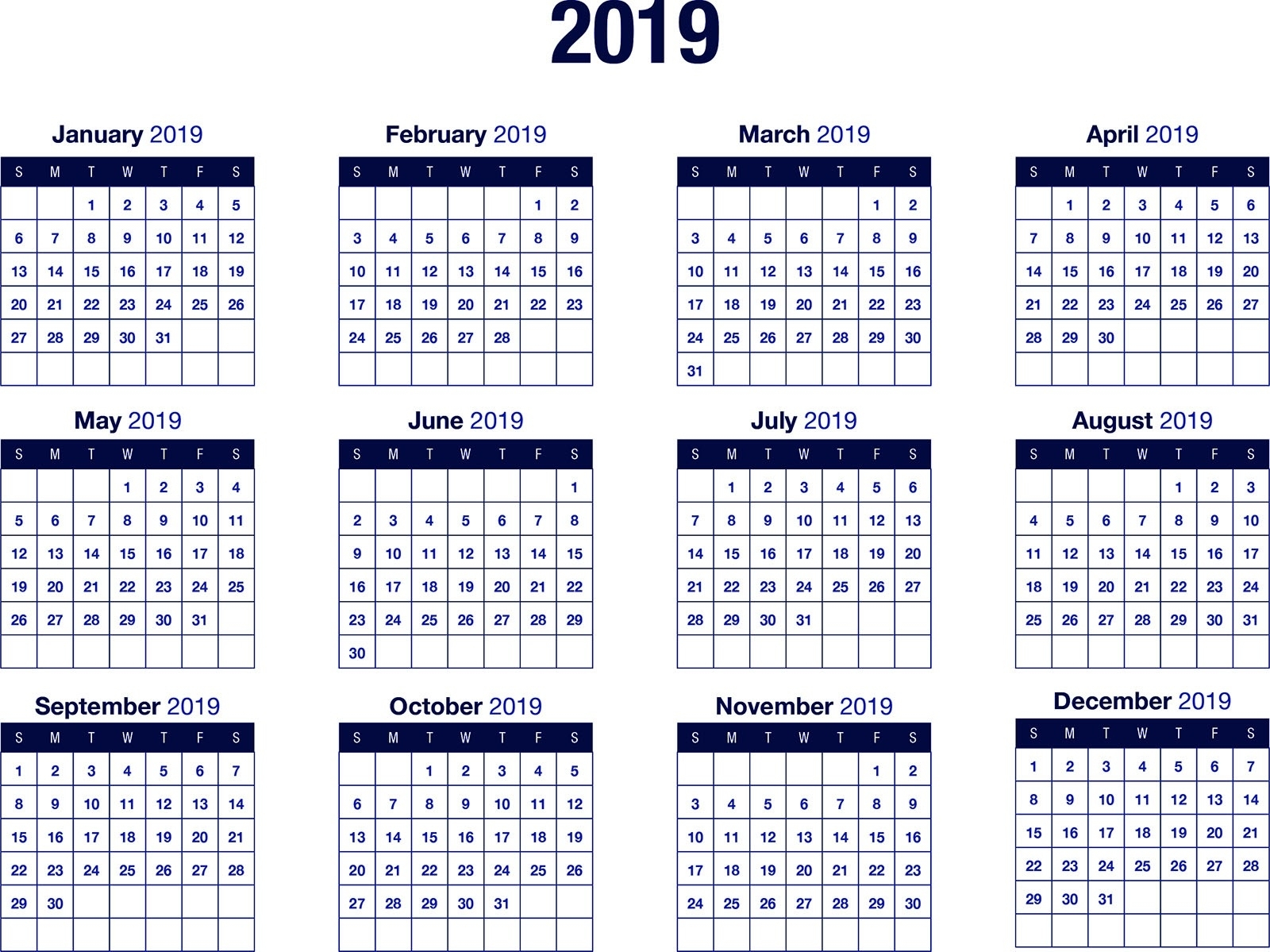 Fiscal 2019 Calendar - Colona.rsd7 pertaining to Us Financial Calendar Week Numbers