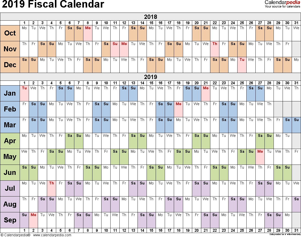 Fiscal Calendars 2019 - Free Printable Word Templates intended for Week Numbers For Financial Year 2019