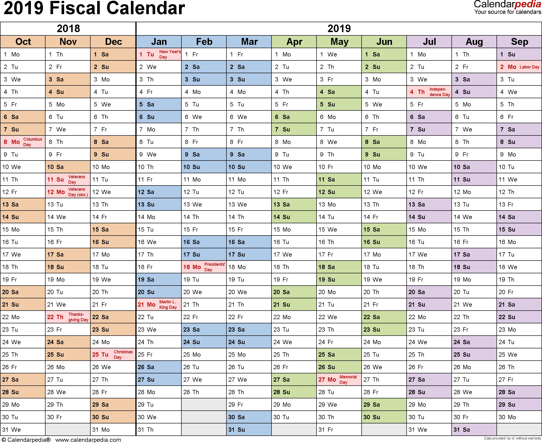 Fiscal Calendars 2019 - Free Printable Word Templates regarding Us Financial Calendar Week Numbers