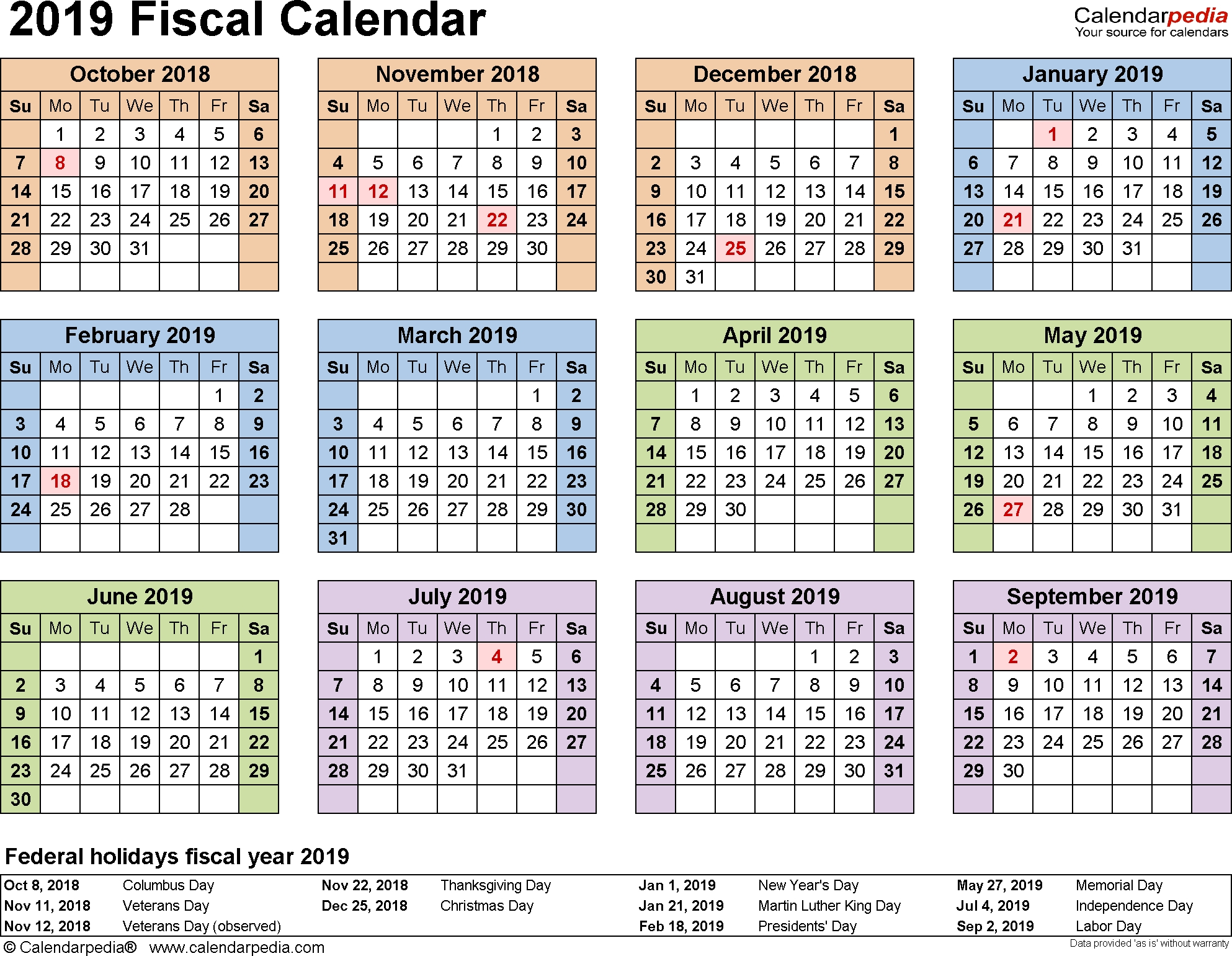 Fiscal Calendars 2019 - Free Printable Word Templates with Financial Year Week Numbers 2019